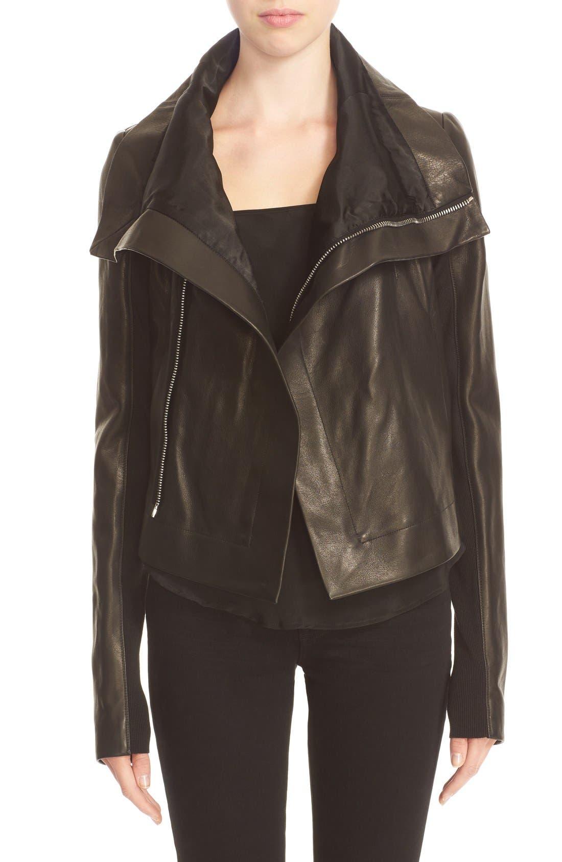 RICK OWENS,                             'Clean' Leather Biker Jacket,                             Main thumbnail 1, color,                             001