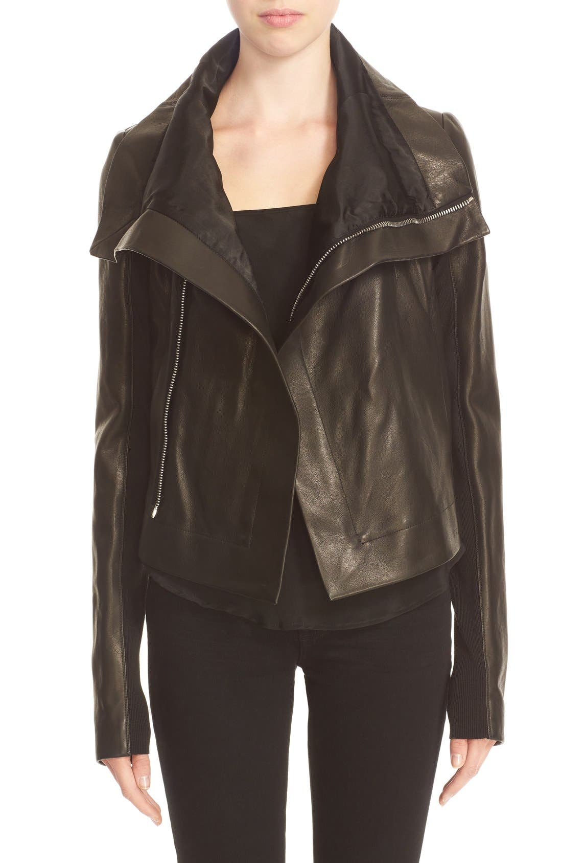 RICK OWENS 'Clean' Leather Biker Jacket, Main, color, 001