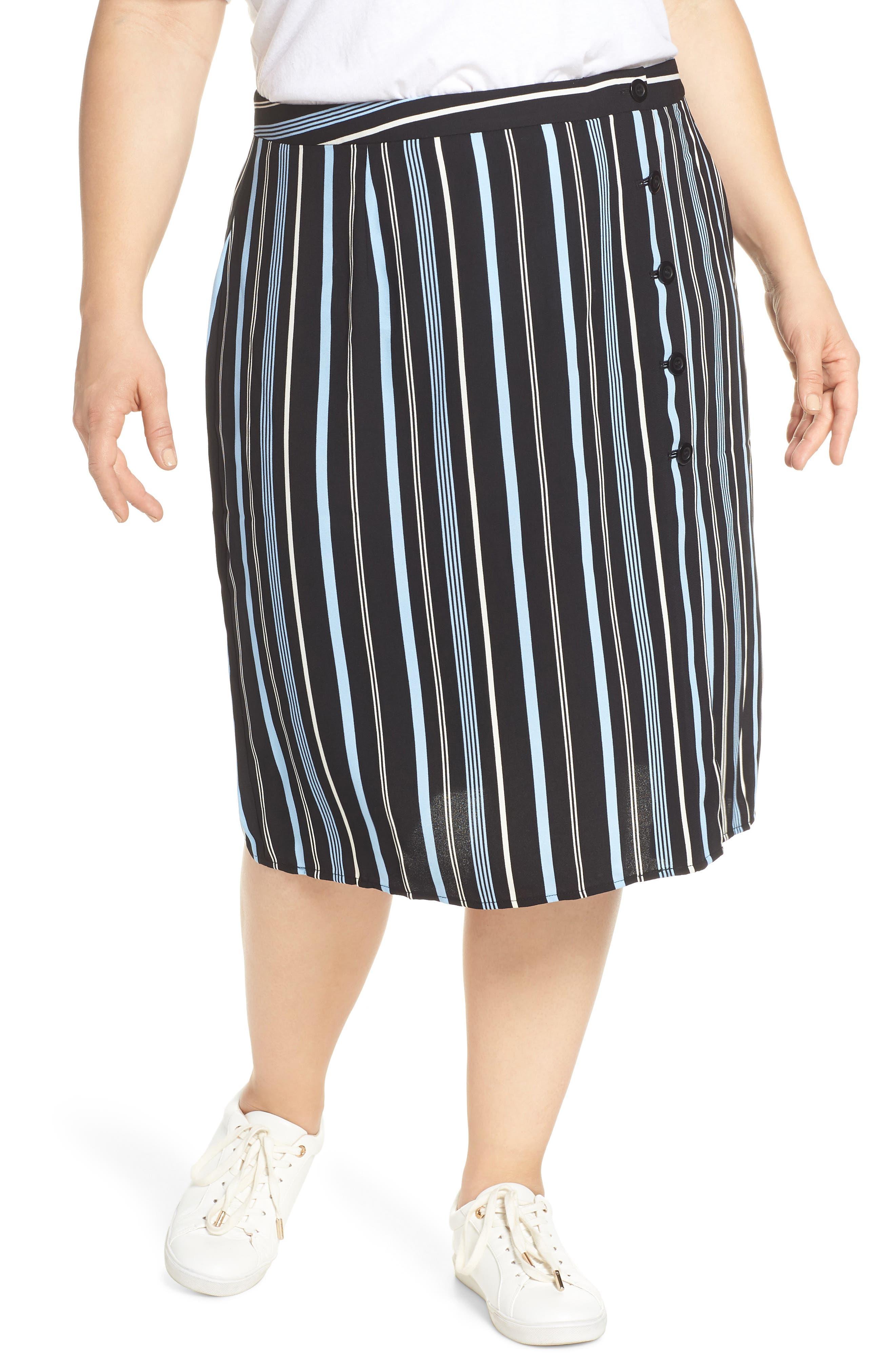 Button Wrap Skirt,                             Alternate thumbnail 2, color,                             BLACK MULTI COLORED STRIPE