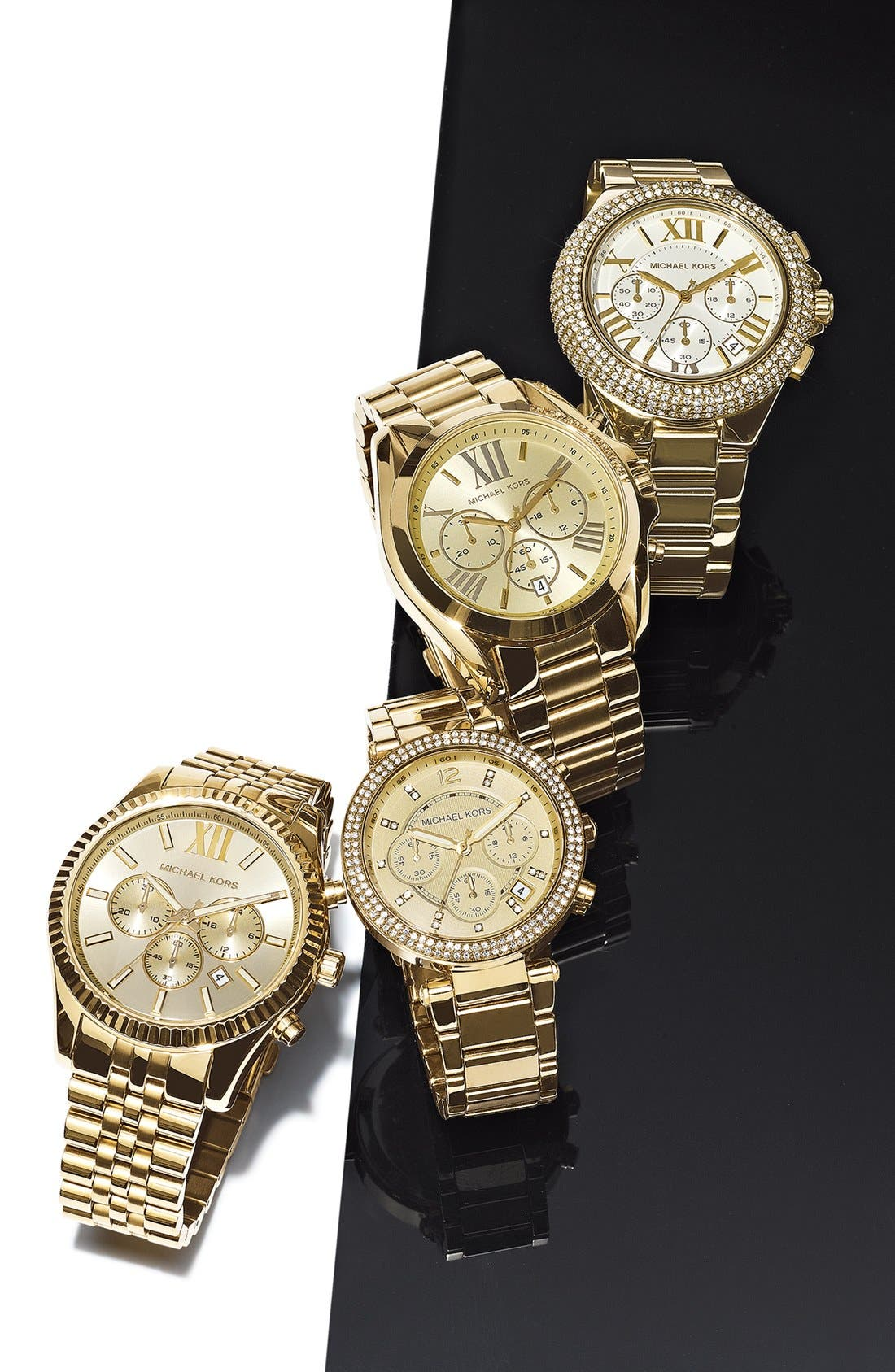 MICHAEL KORS,                             'Large Lexington' Chronograph Bracelet Watch, 45mm,                             Alternate thumbnail 7, color,                             GOLD/ BLACK