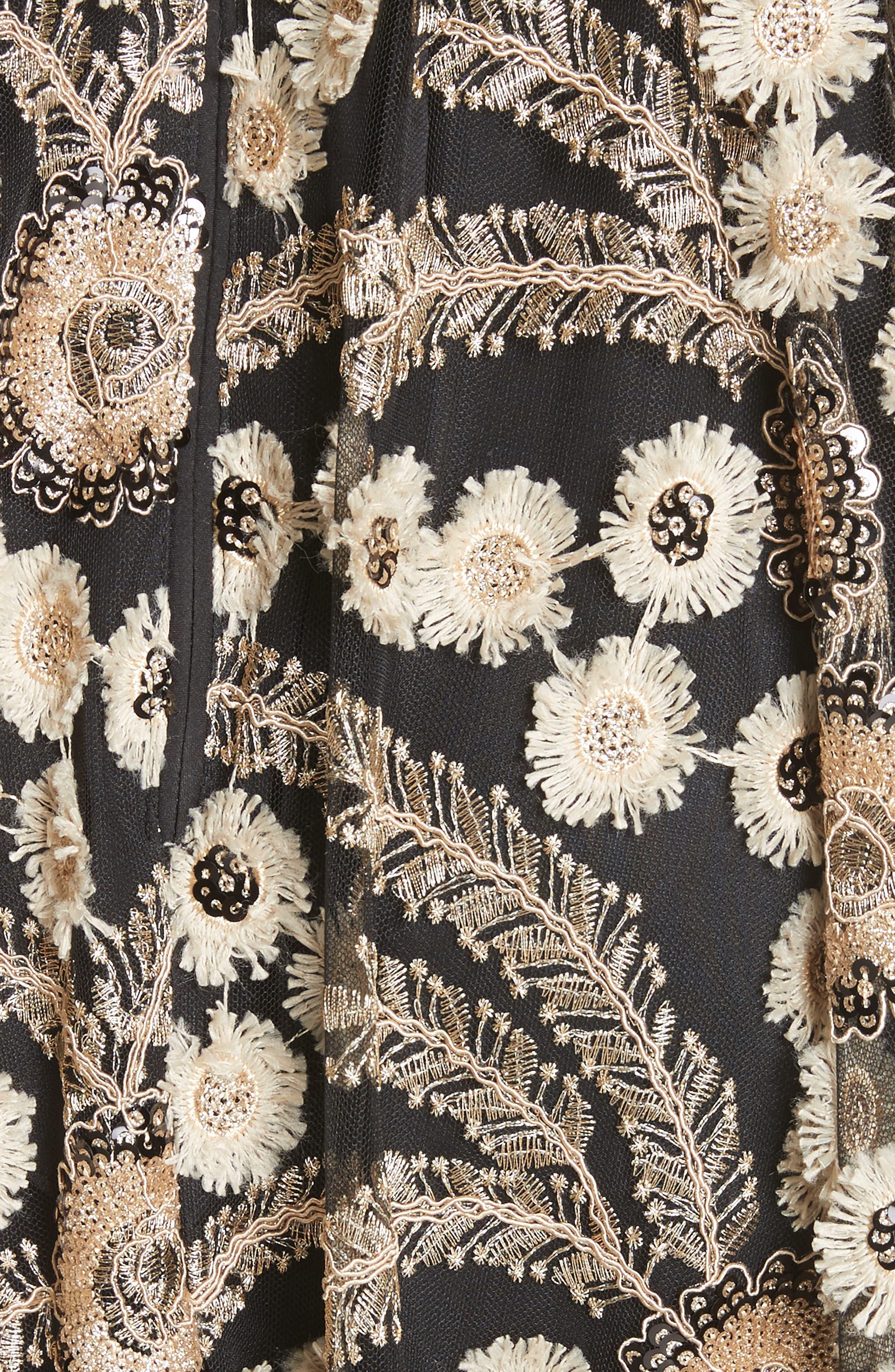 Embellished A-Line Maxi Dress,                             Alternate thumbnail 5, color,                             001