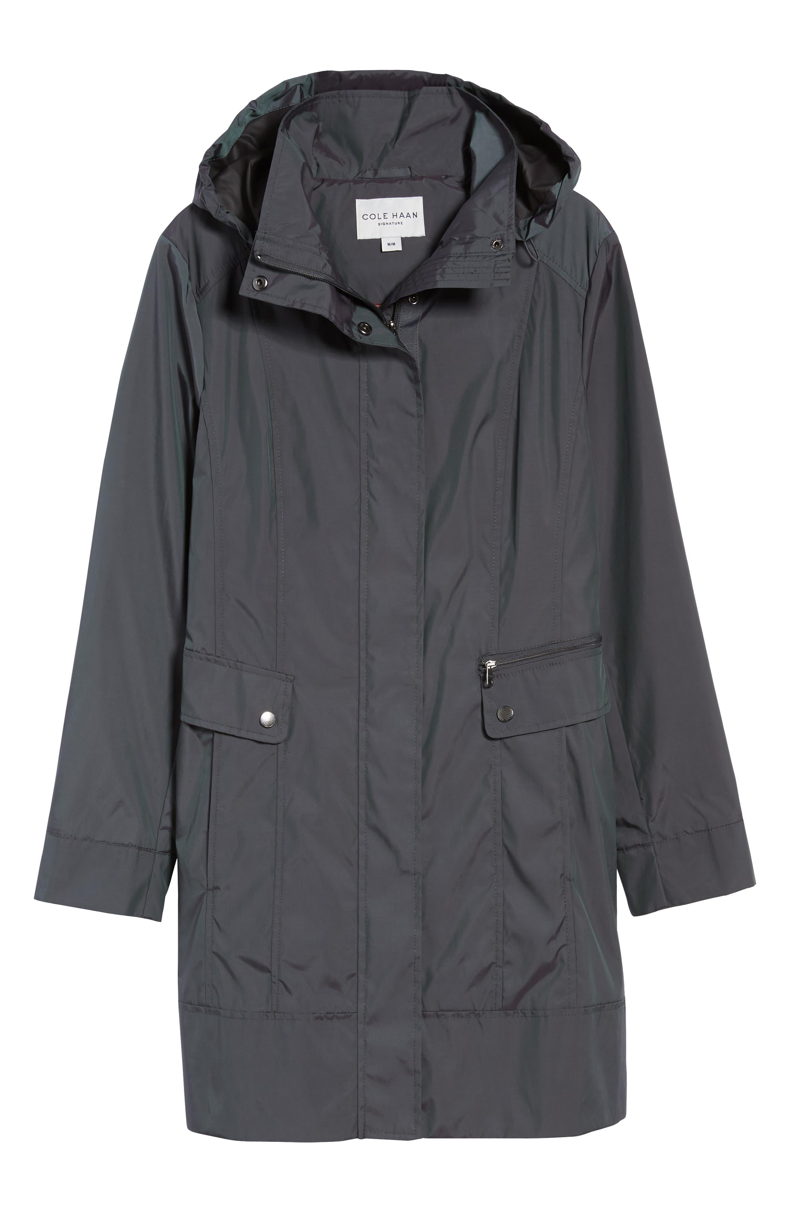 Back Bow Packable Hooded Raincoat,                             Alternate thumbnail 6, color,                             GUNMETAL