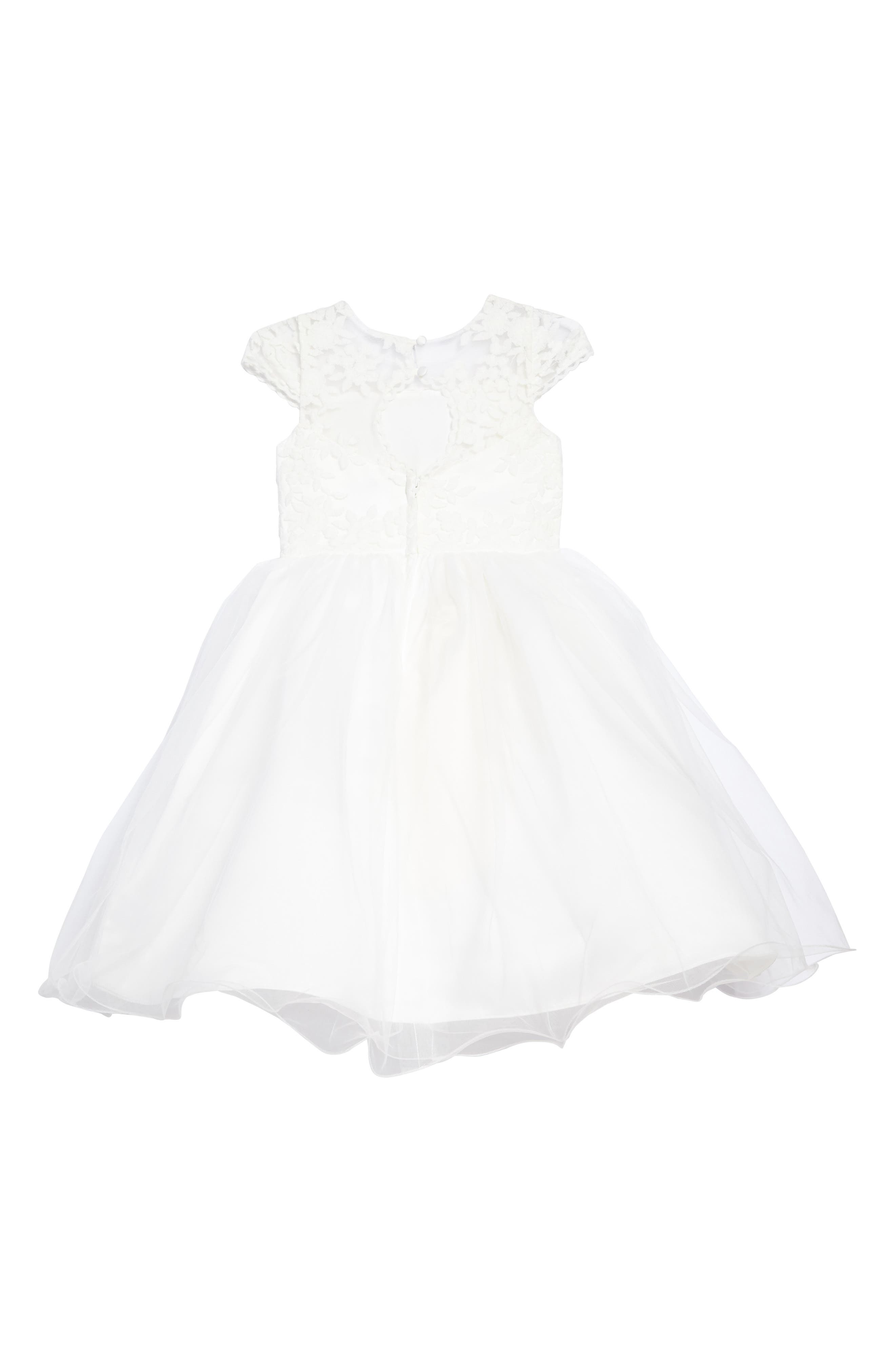 The Tina Floral Lace Tulle Dress,                             Alternate thumbnail 2, color,                             IVORY