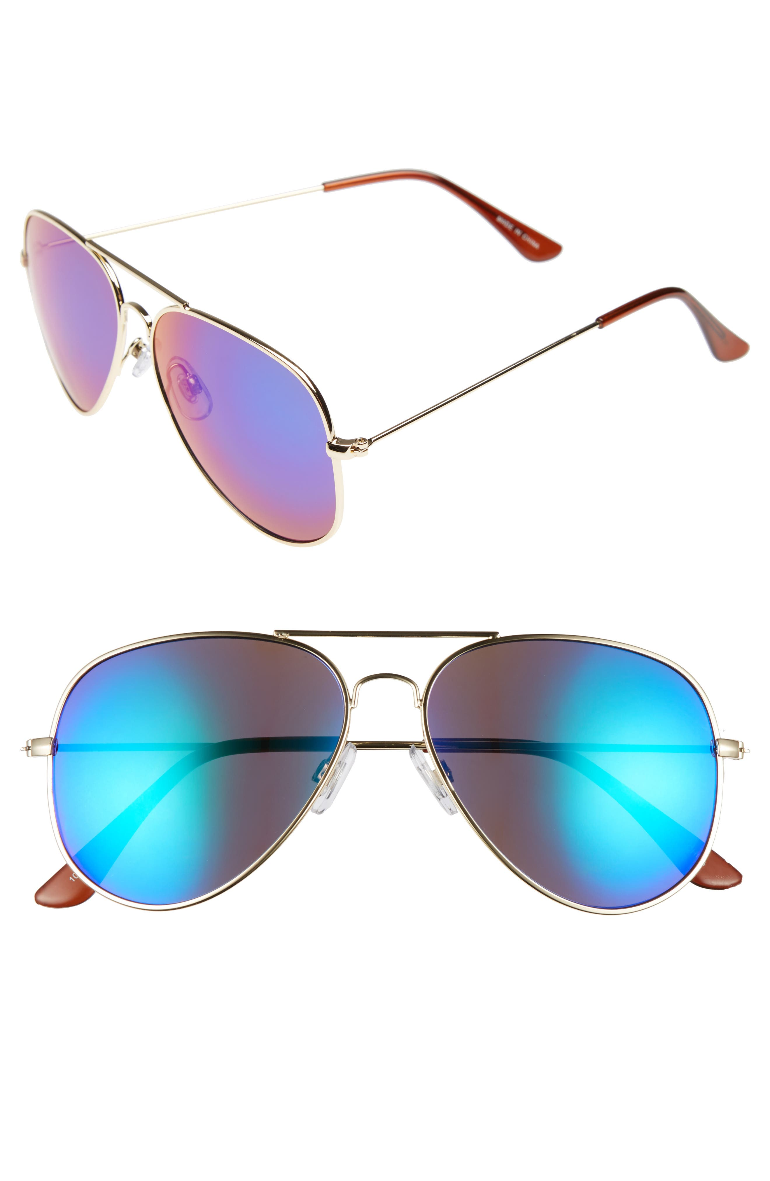 Mirrored Aviator 57mm Sunglasses,                             Alternate thumbnail 15, color,