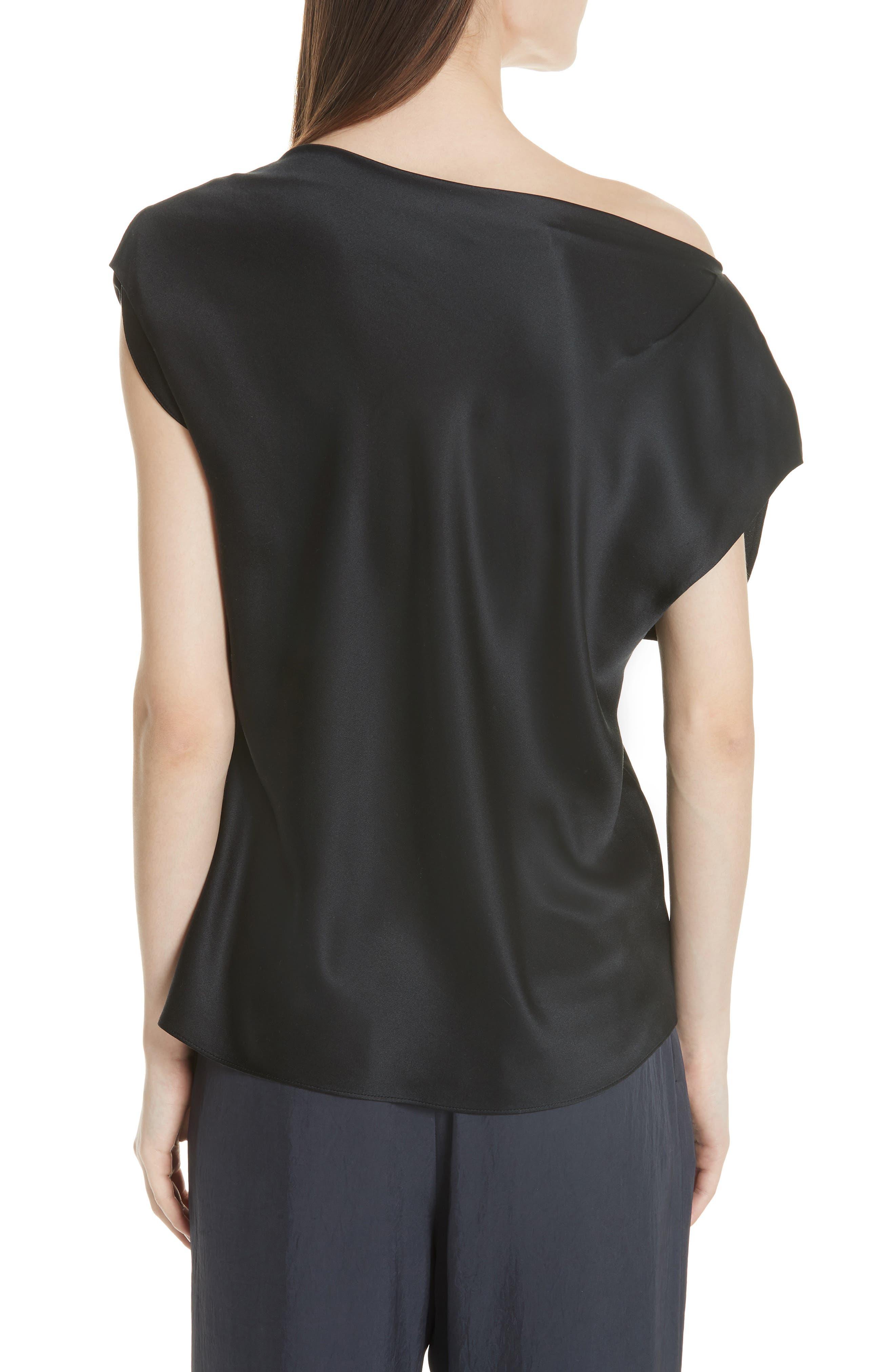 Silk Off the Shoulder Blouse,                             Alternate thumbnail 2, color,                             001