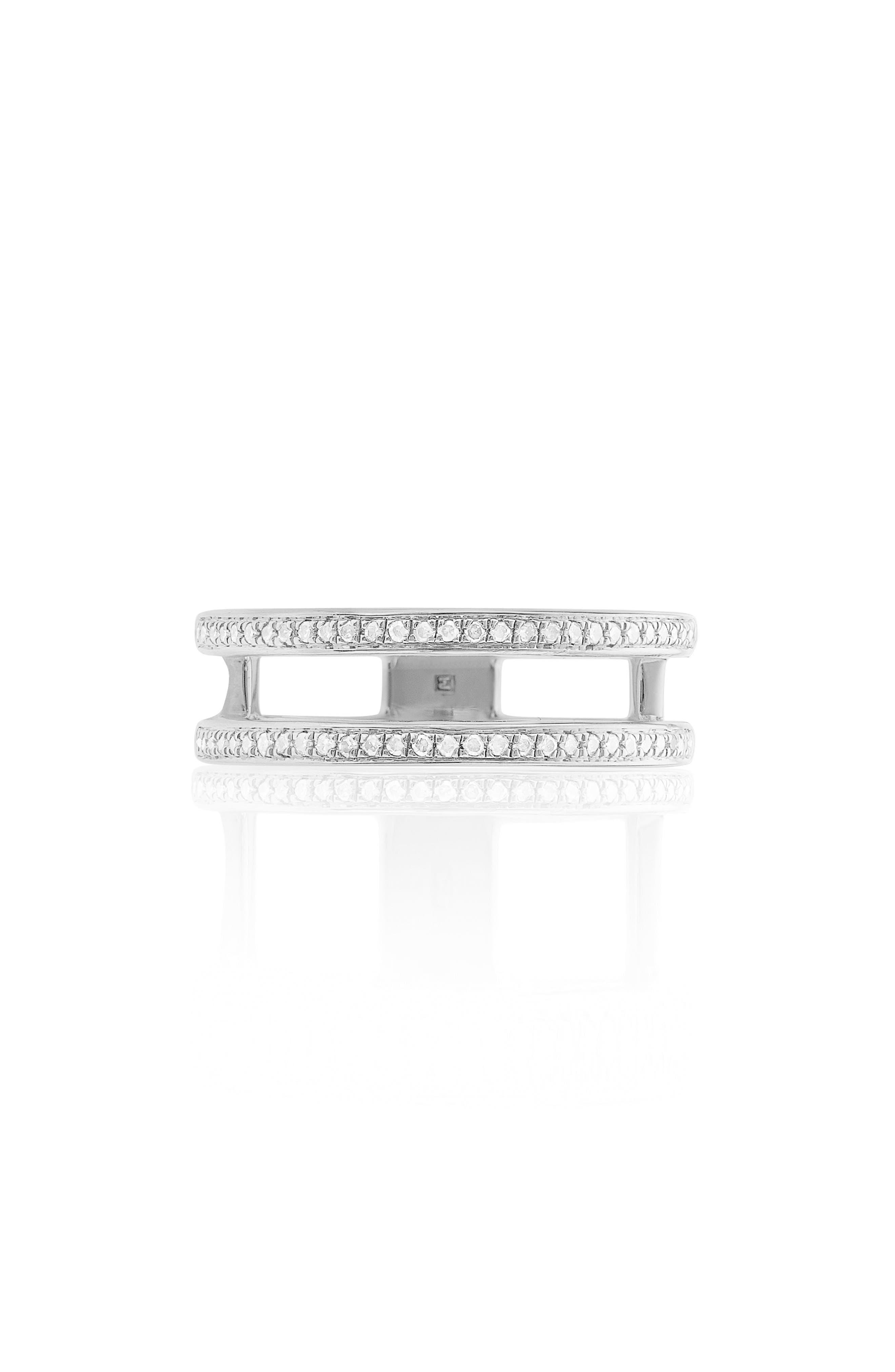Skinny Double Band Diamond Ring,                             Main thumbnail 1, color,                             SILVER