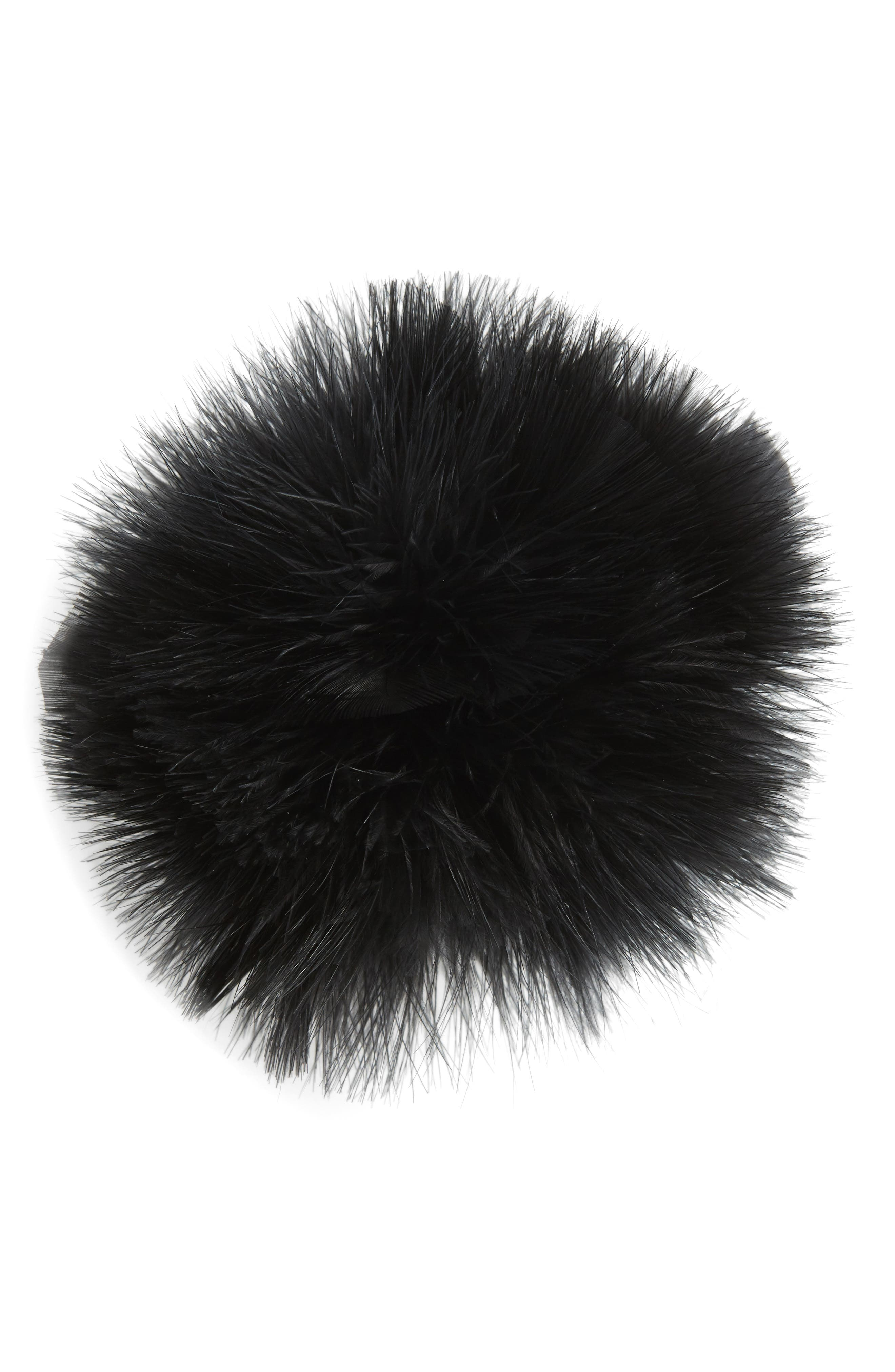 Feather Pompom Ponytail Holder,                             Main thumbnail 1, color,                             001