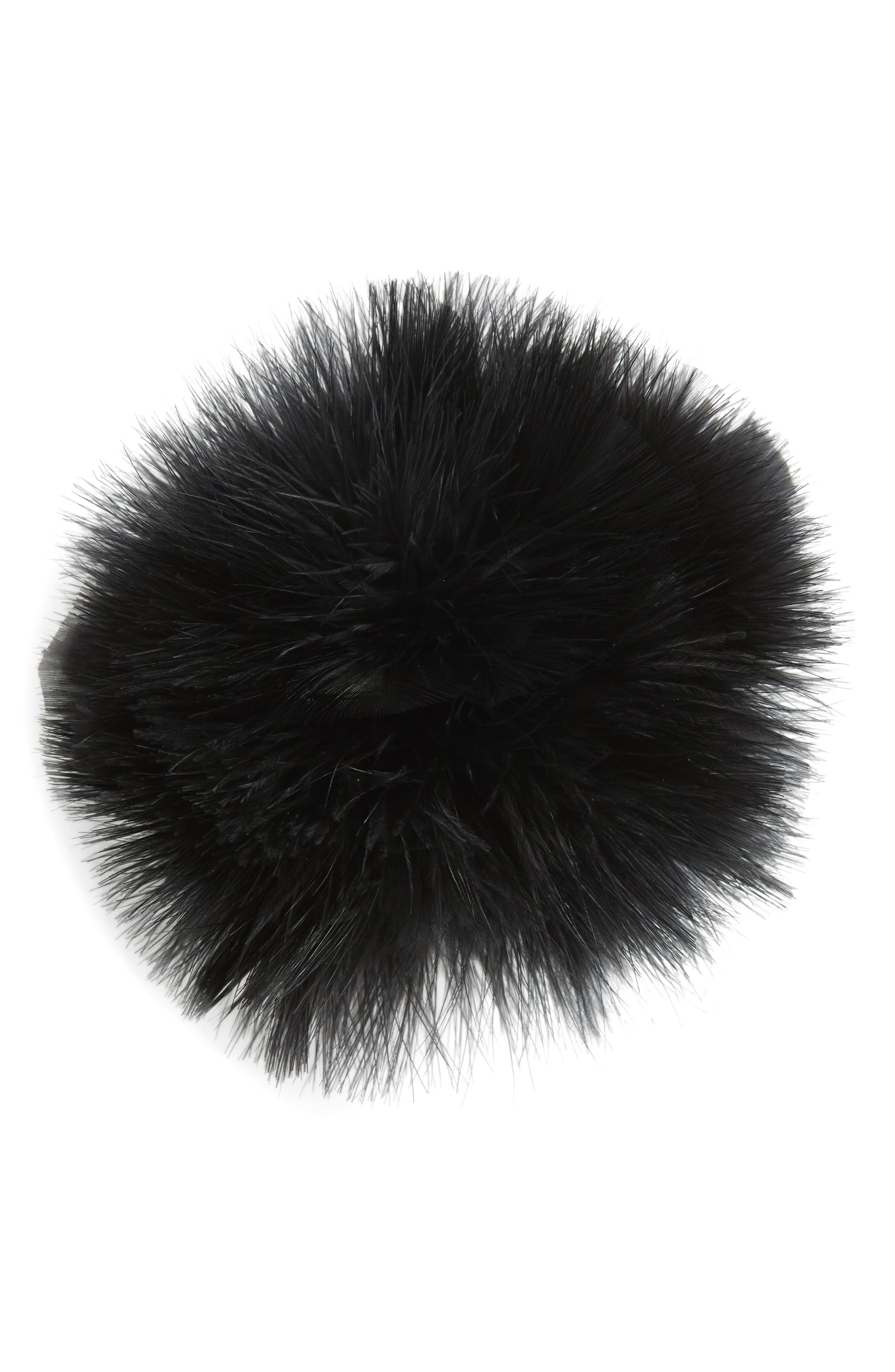 Feather Pompom Ponytail Holder,                         Main,                         color, 001