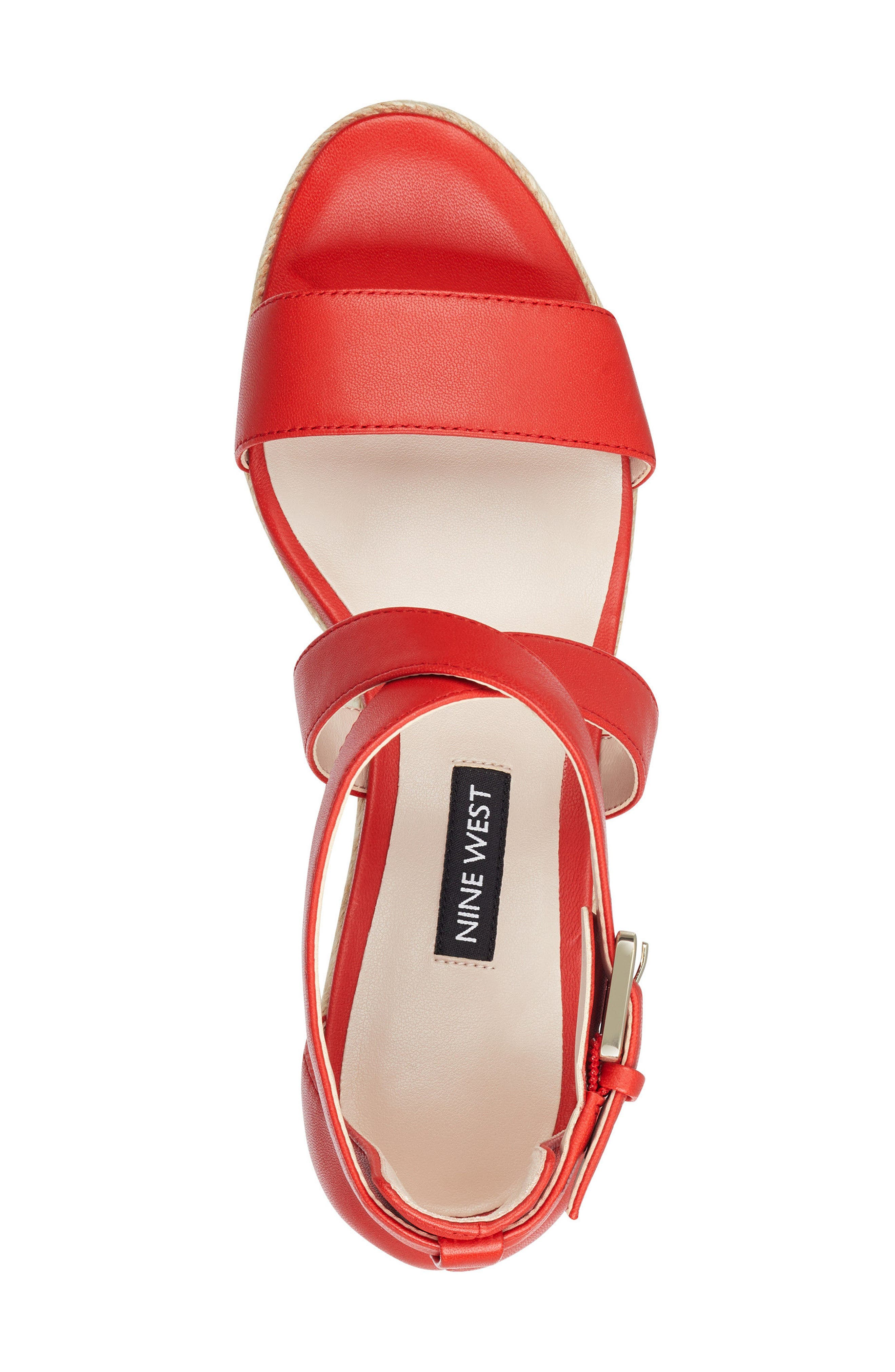 Jorjapeach Espadrille Wedge Sandal,                             Alternate thumbnail 5, color,                             RED LEATHER
