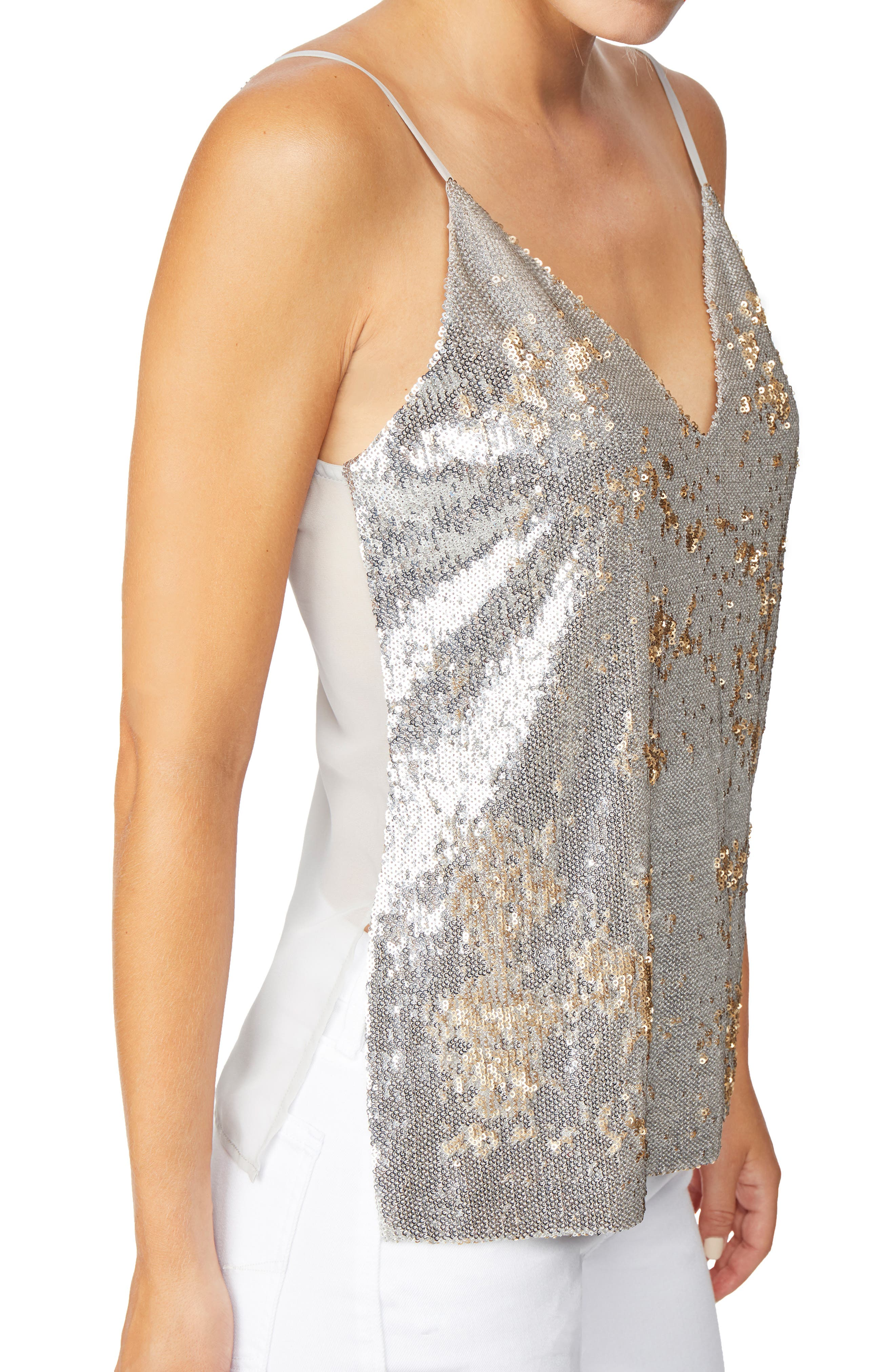 Mixed Media Reversible Sequin Camisole,                             Alternate thumbnail 4, color,                             SILVER/ GOLD