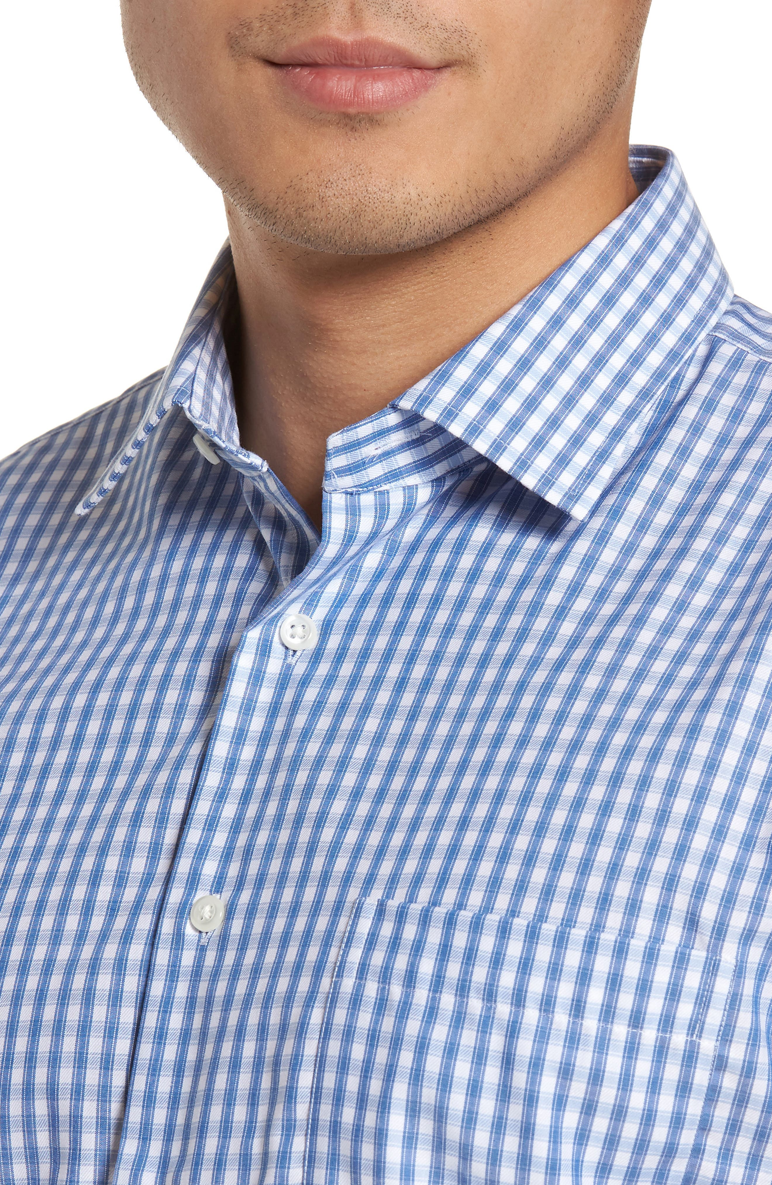 Trim Fit Non-Iron Check Dress Shirt,                             Alternate thumbnail 5, color,