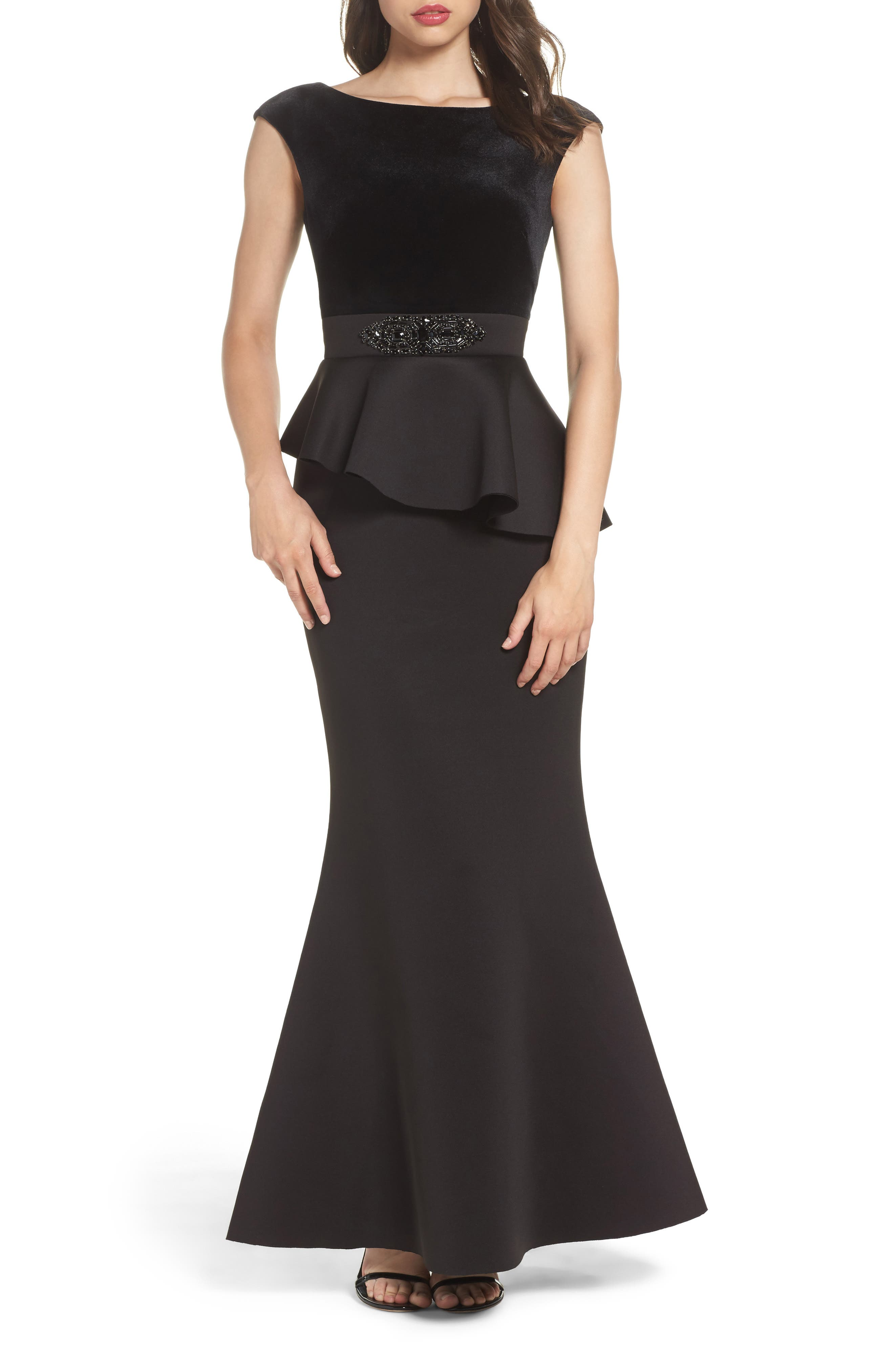 ELIZA J,                             Cap Sleeve Mixed Media Peplum Gown,                             Main thumbnail 1, color,                             001