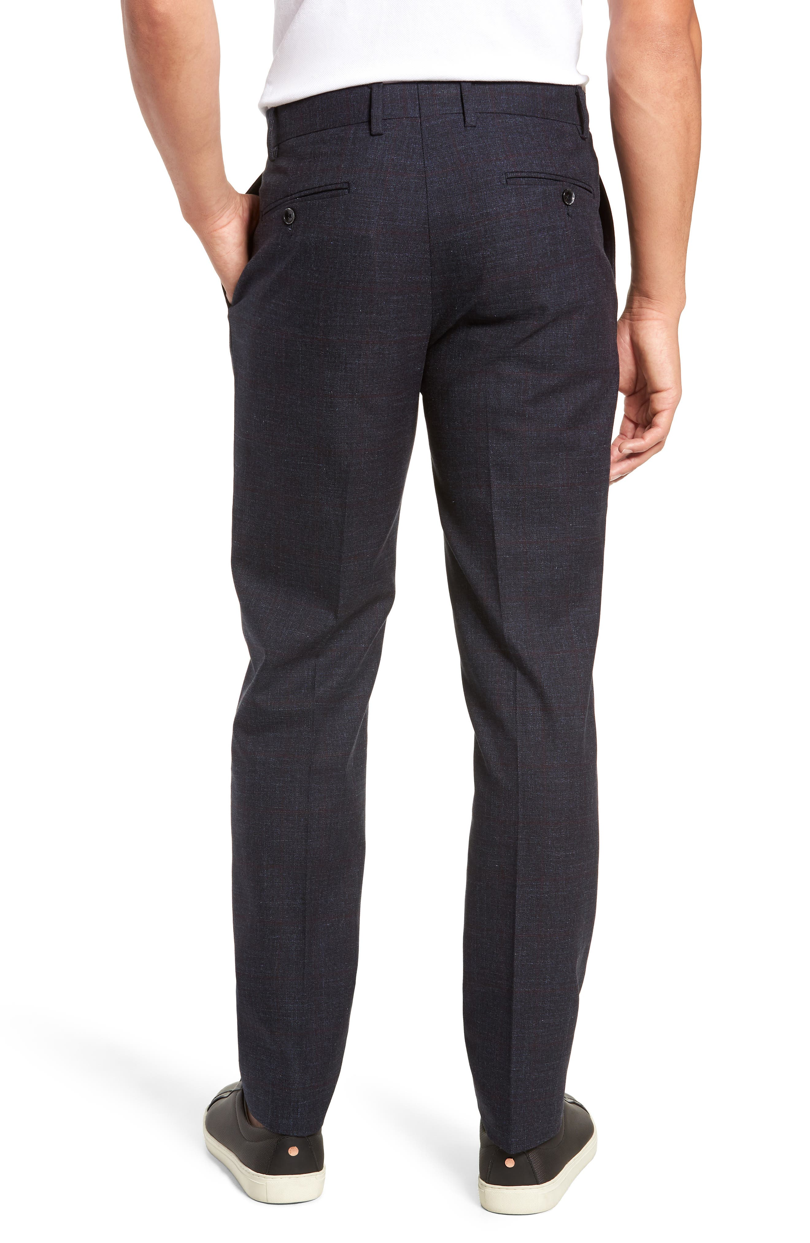 Flat Front Windowpane Stretch Cotton Trousers,                             Alternate thumbnail 2, color,                             NAVY