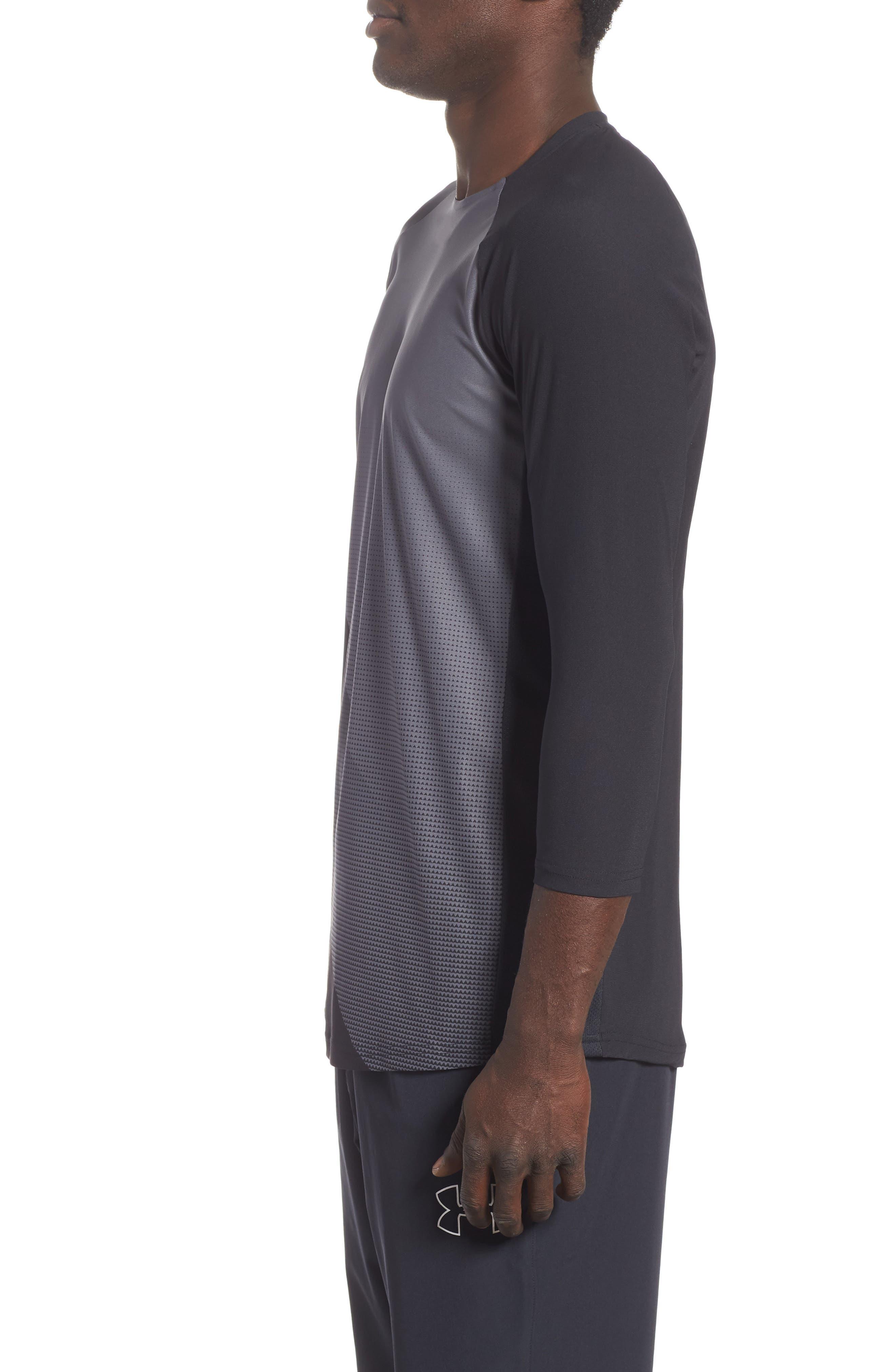 Three Quarter Sleeve Print Performance T-Shirt,                             Alternate thumbnail 3, color,                             BLACK