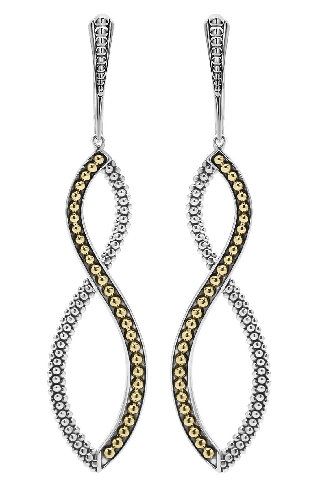 Infinity Twist Drop Earrings,                             Main thumbnail 1, color,                             SILVER/ GOLD
