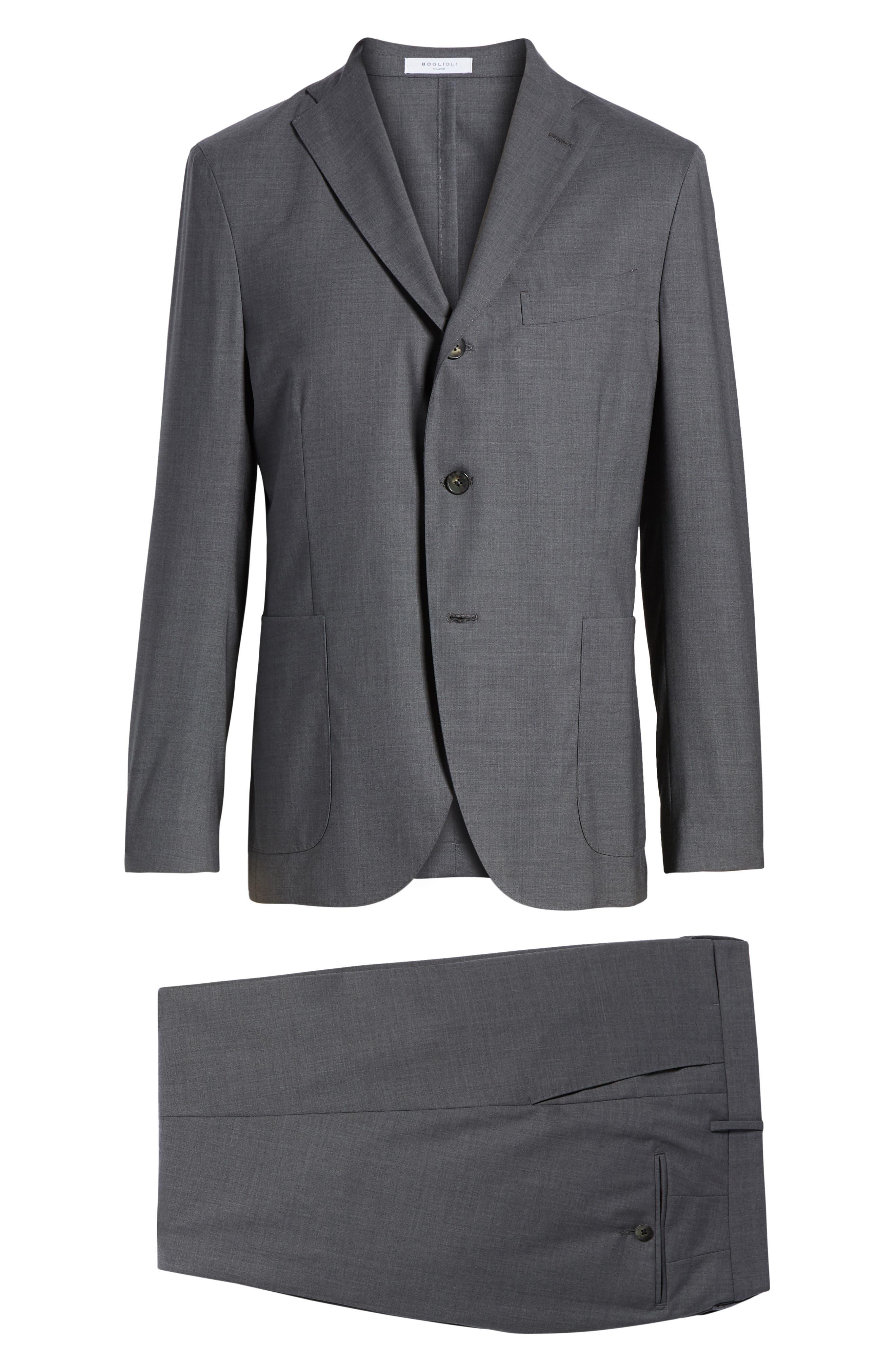 Trim Fit Solid Wool Suit,                             Alternate thumbnail 8, color,                             MEDIUM GREY