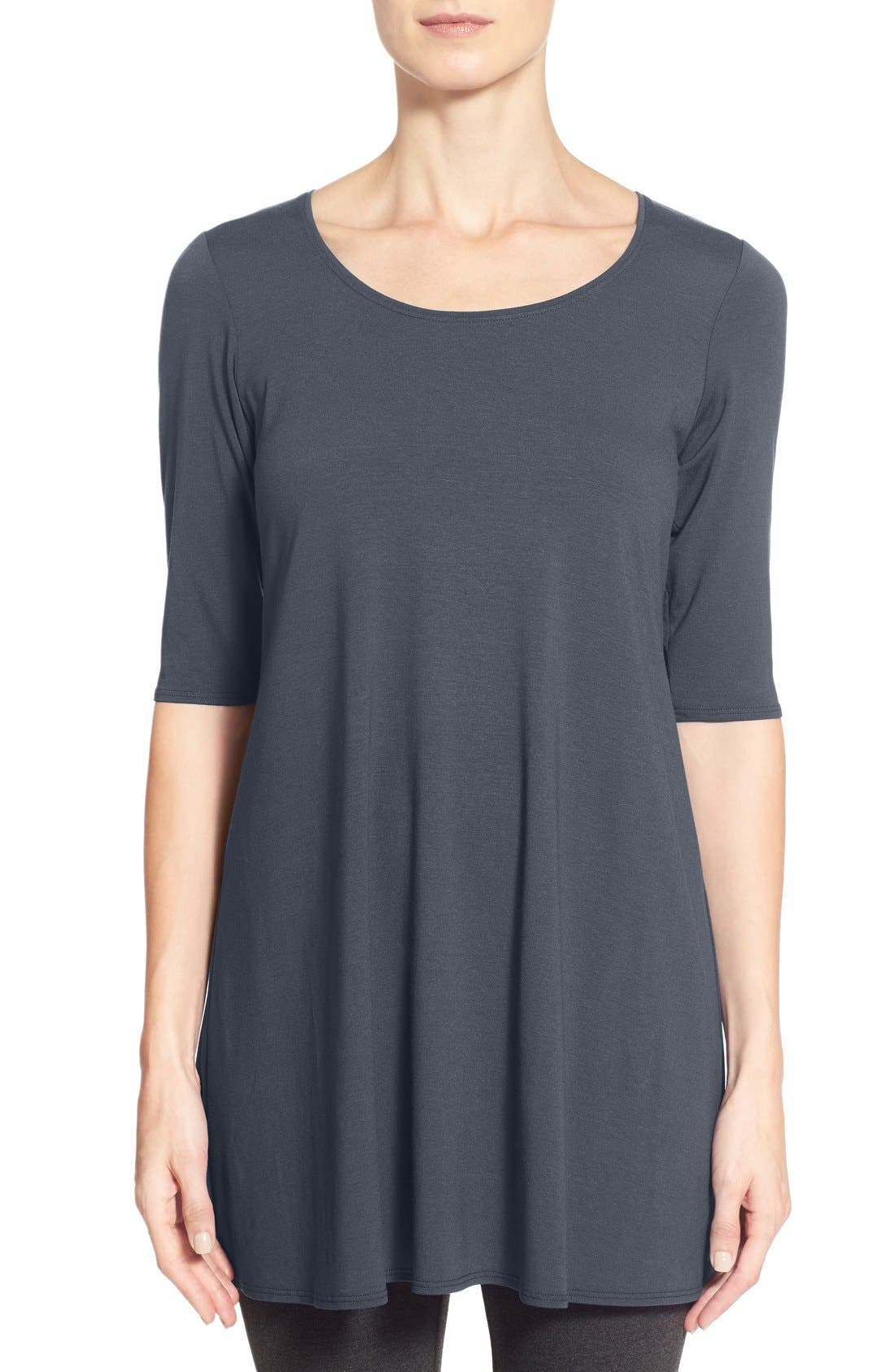 Scoop Neck Elbow Sleeve Jersey Tunic,                             Main thumbnail 2, color,