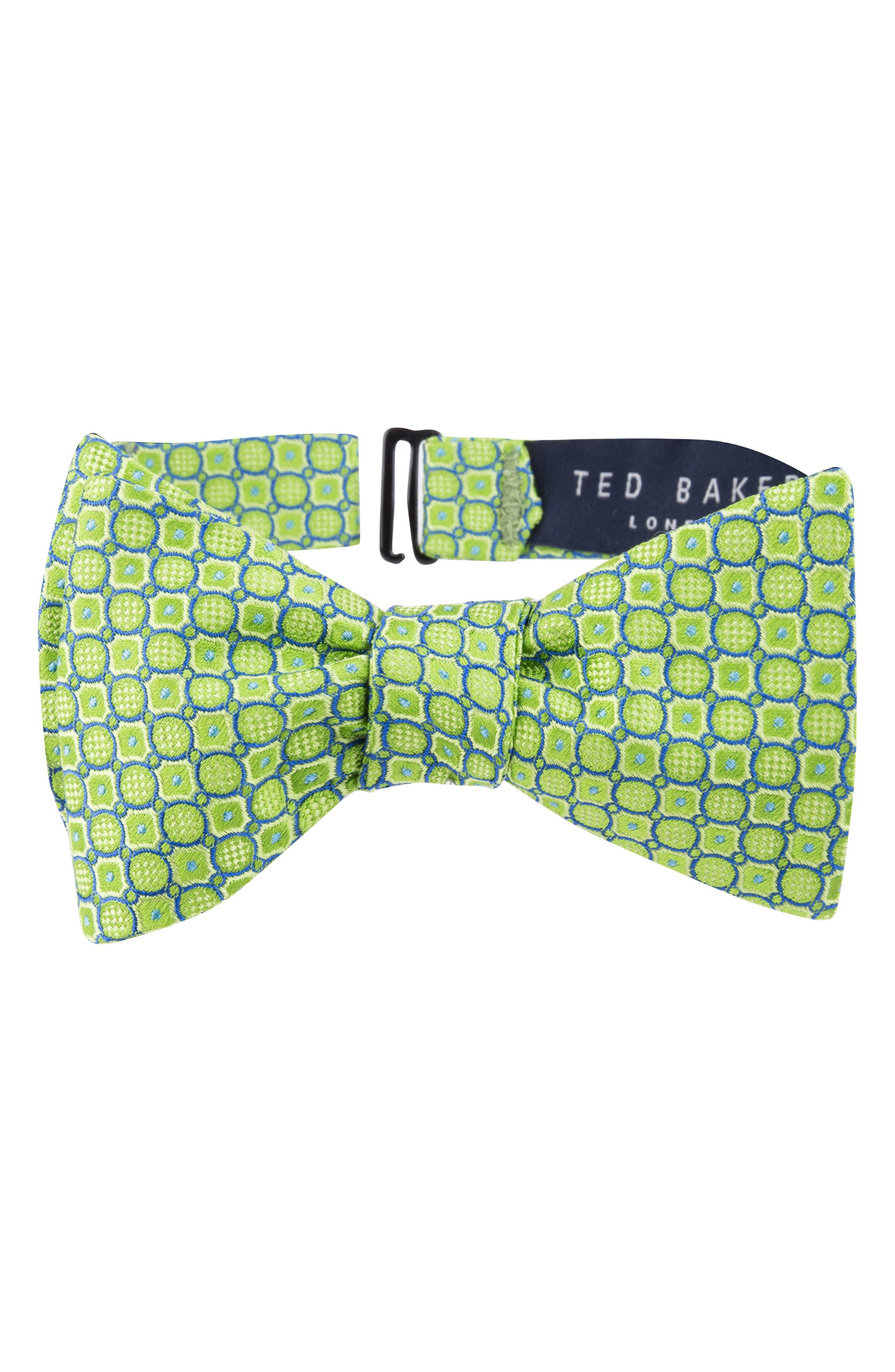 Geo Print Silk Bow Tie,                             Main thumbnail 1, color,                             GREEN