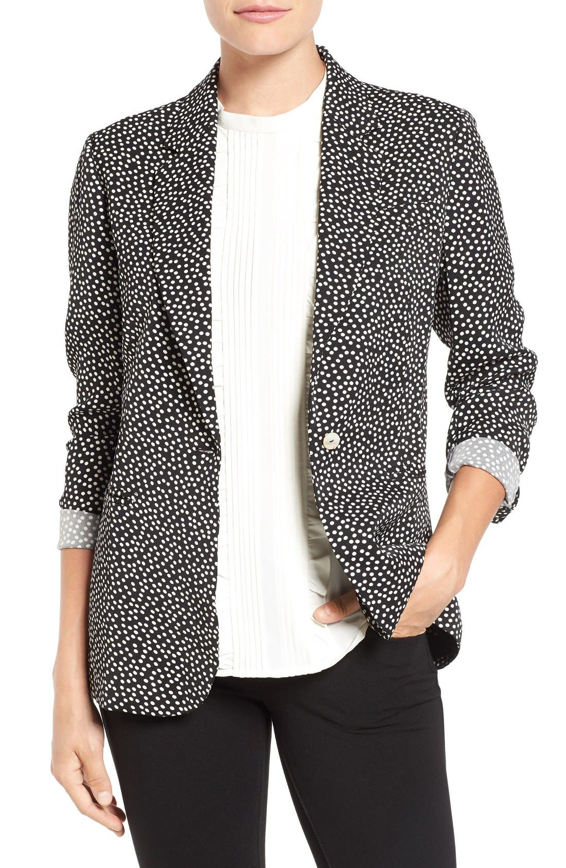 Dot Print Blazer,                             Main thumbnail 1, color,                             001