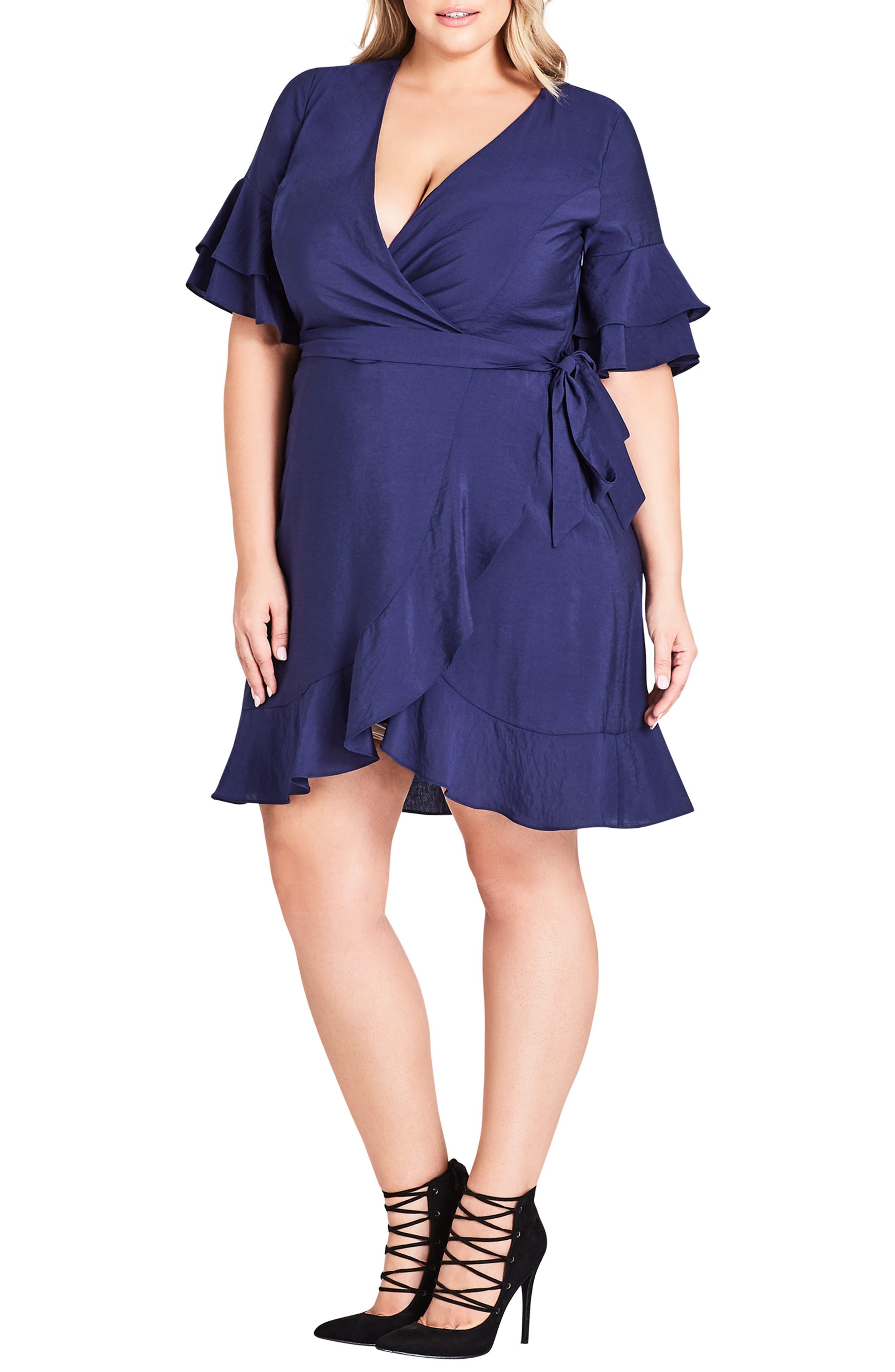 Plus Size City Chic Flounce Sleeve Dress
