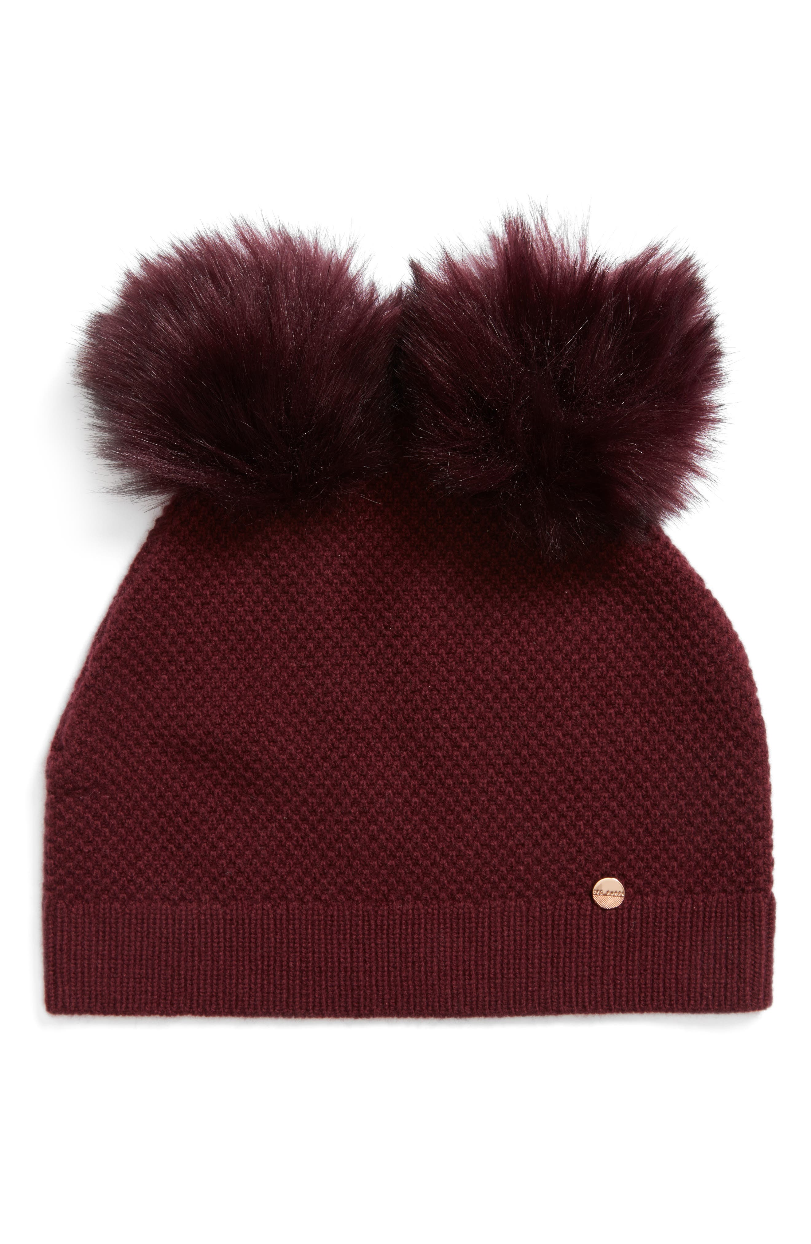 Double Faux Fur Pom Beanie,                             Main thumbnail 3, color,
