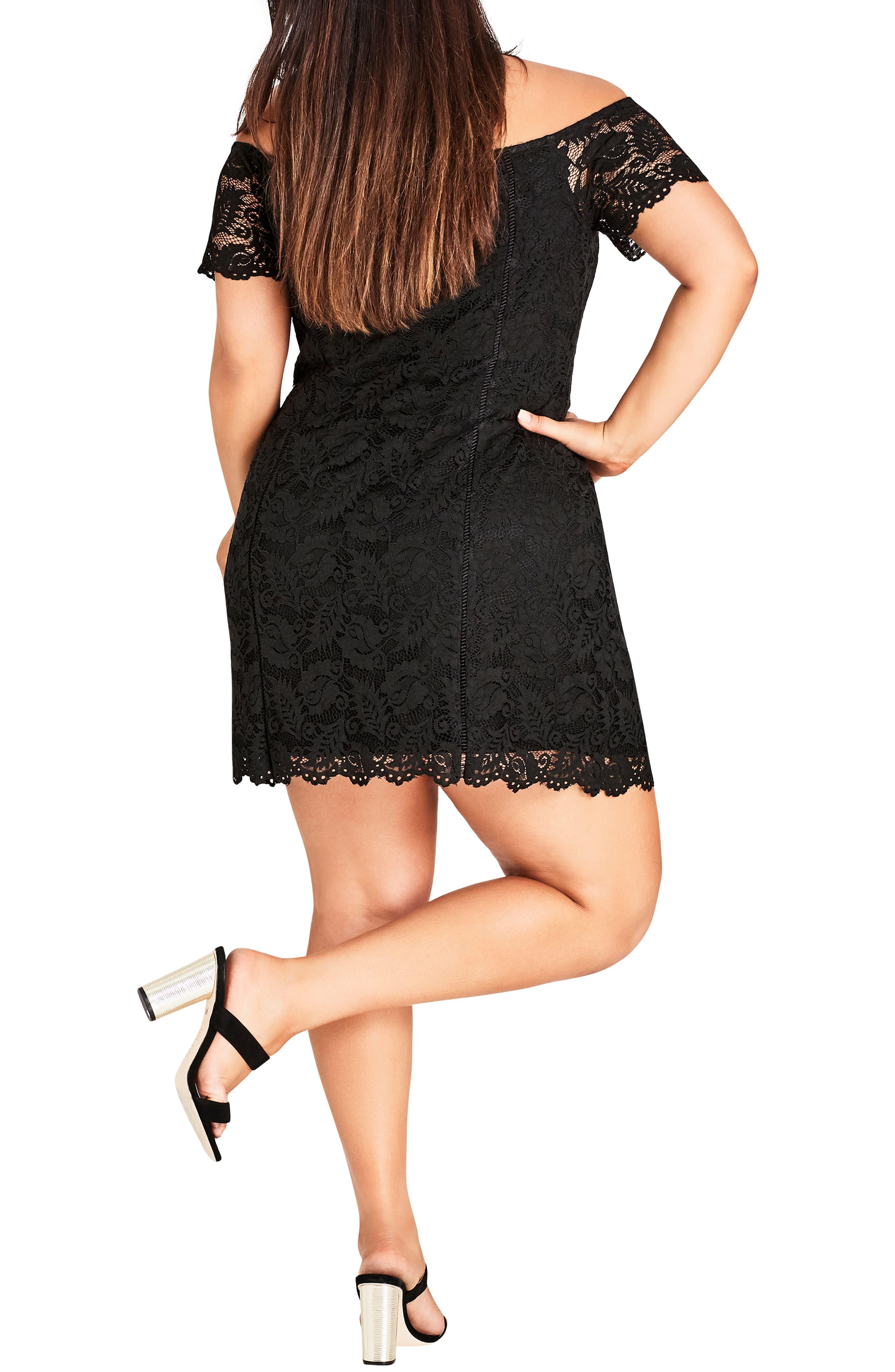 Special Zip Lace Dress,                             Alternate thumbnail 2, color,                             BLACK