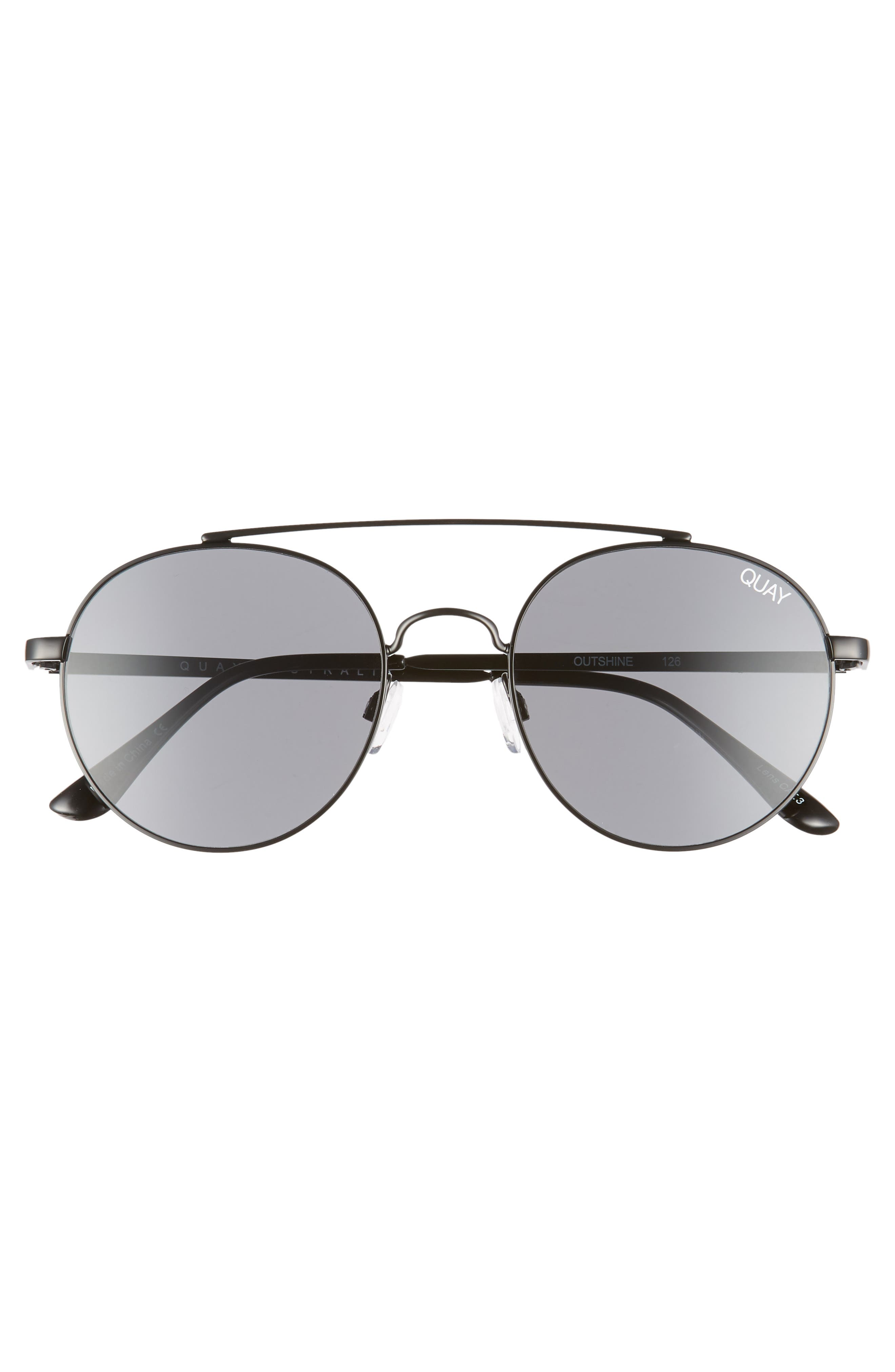Outshine 53mm Round Sunglasses,                             Alternate thumbnail 3, color,                             BLACK / SMOKE