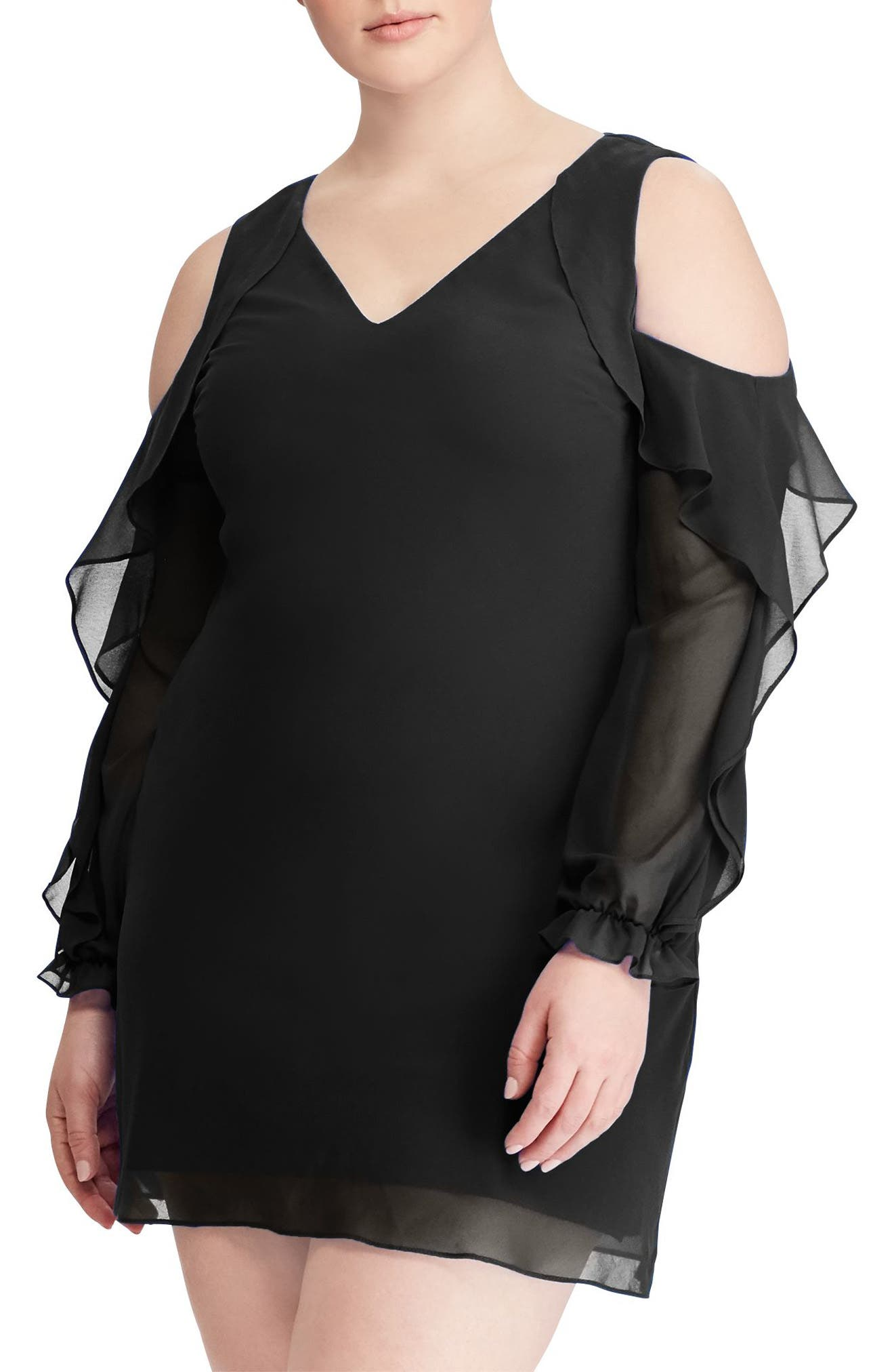 Paiva Ruffle Cold Shoulder Georgette Dress,                             Alternate thumbnail 5, color,