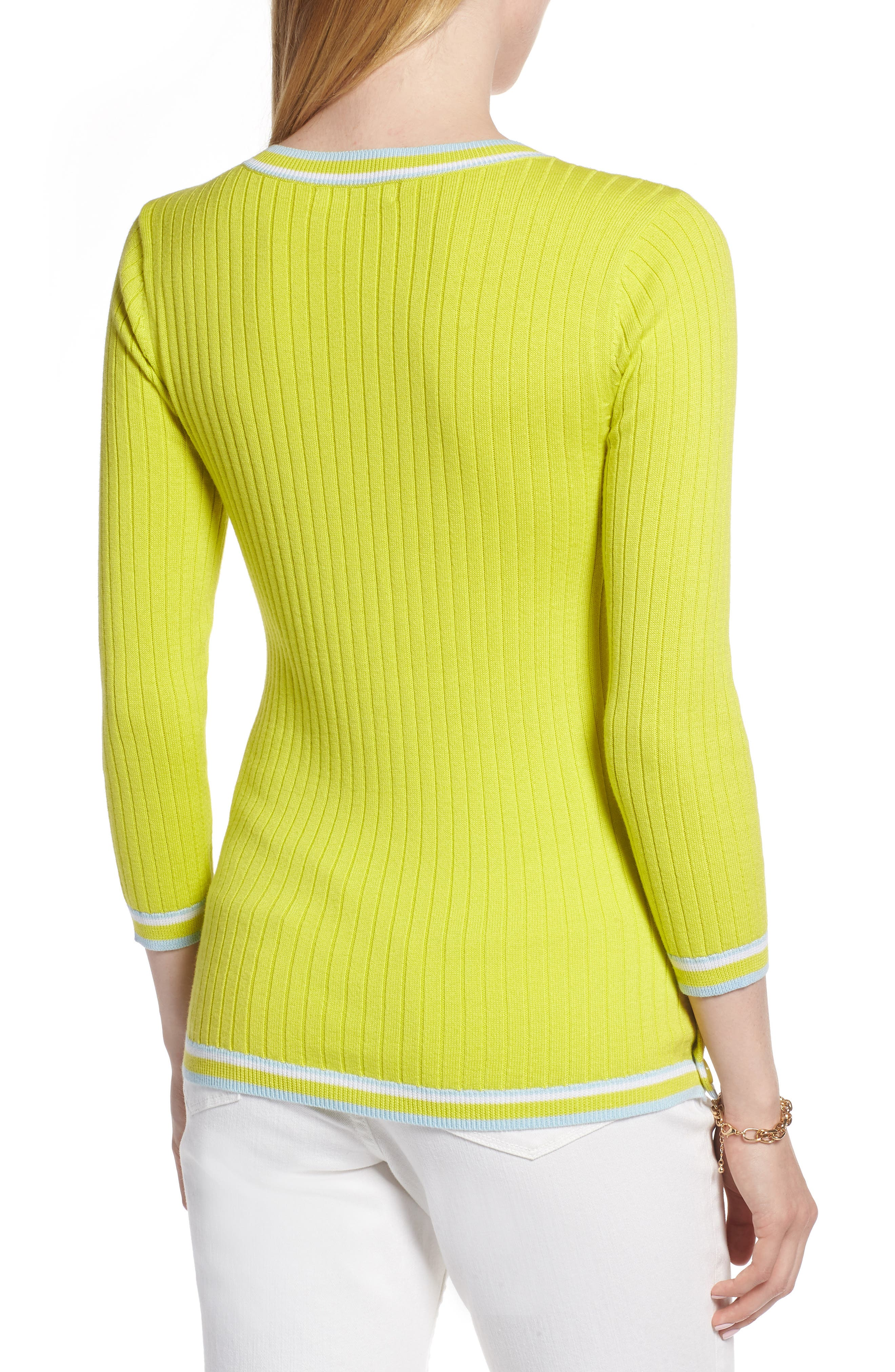Tipped Cotton Blend Ribbed Sweater,                             Alternate thumbnail 2, color,                             330