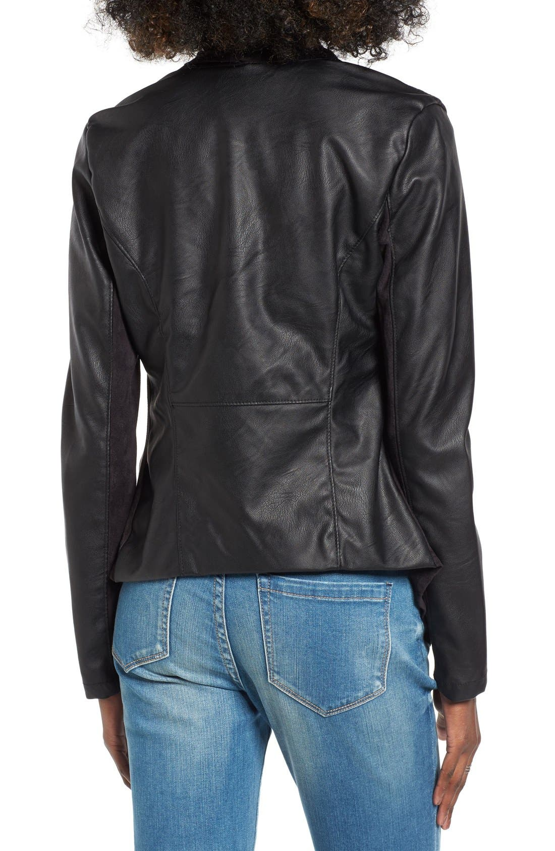 Mixed Media Faux Leather Drape Front Jacket,                             Alternate thumbnail 3, color,