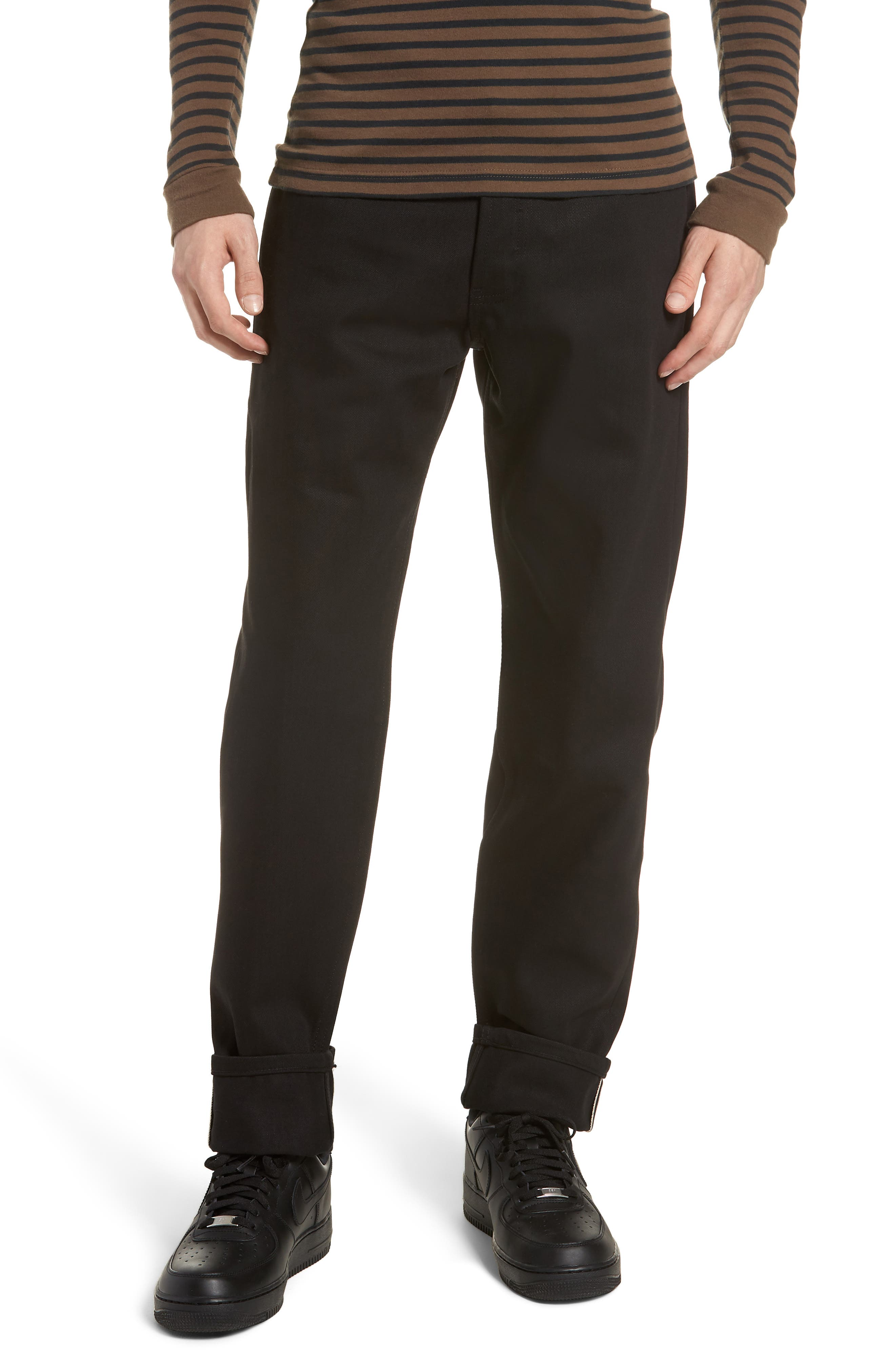 NAKED & FAMOUS DENIM,                             Naked & Famous Easy Guy Relaxed Fit Jeans,                             Main thumbnail 1, color,                             SOLID BLACK SELVEDGE