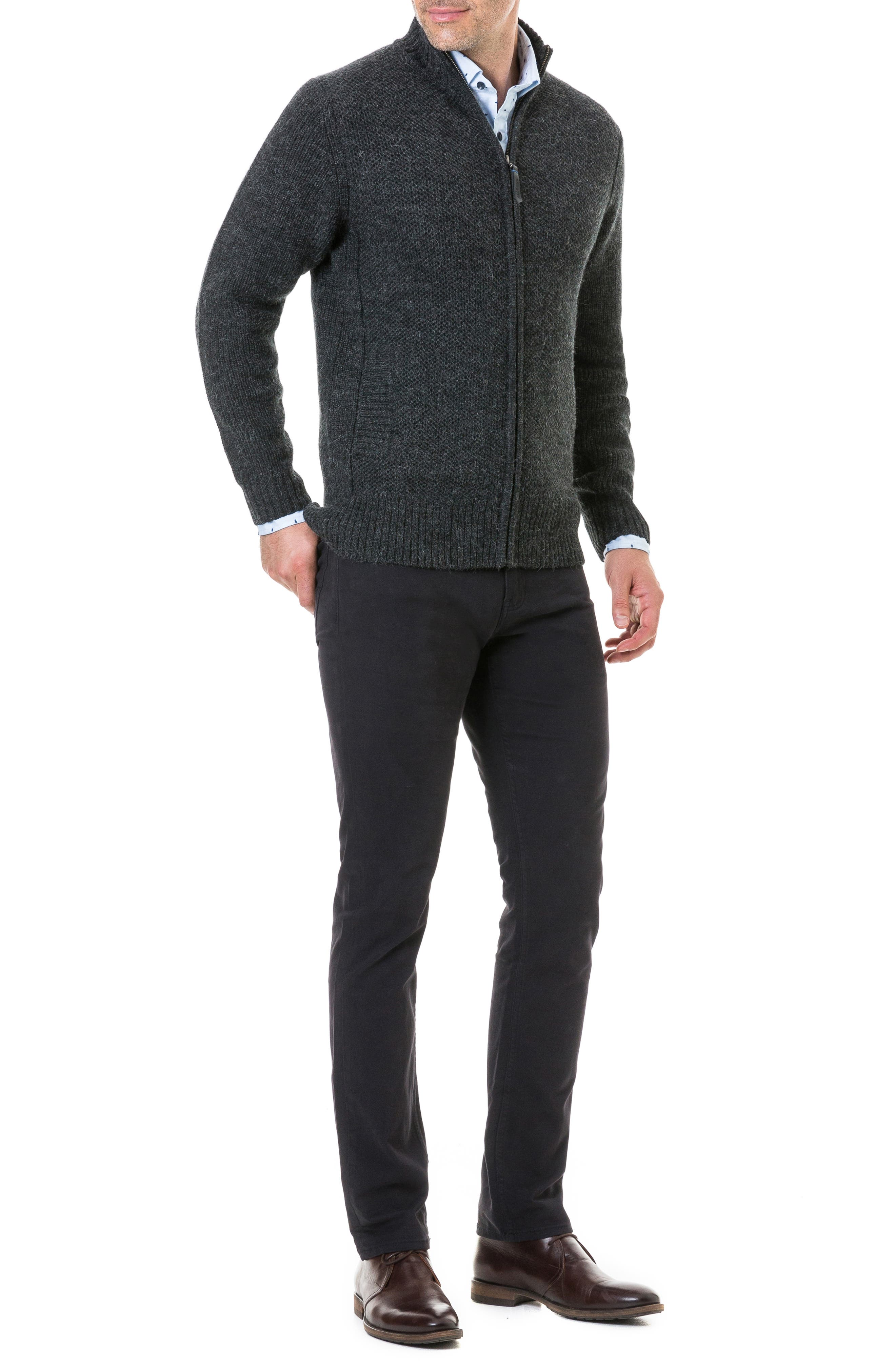 Bendrose Wool Blend Zip Cardigan,                             Alternate thumbnail 5, color,                             CHARCOAL
