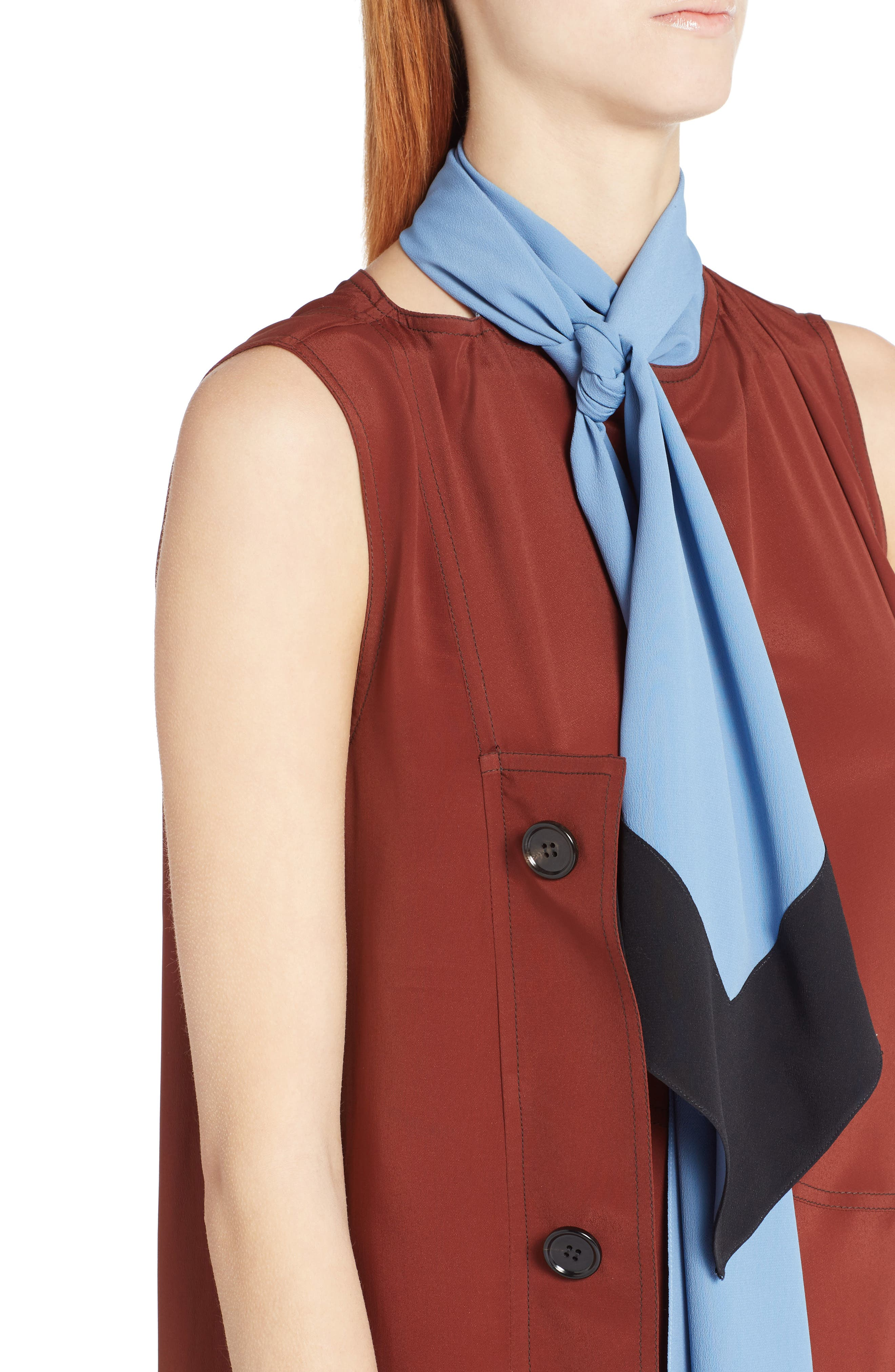 Tie Neck Side Button Dress,                             Alternate thumbnail 4, color,