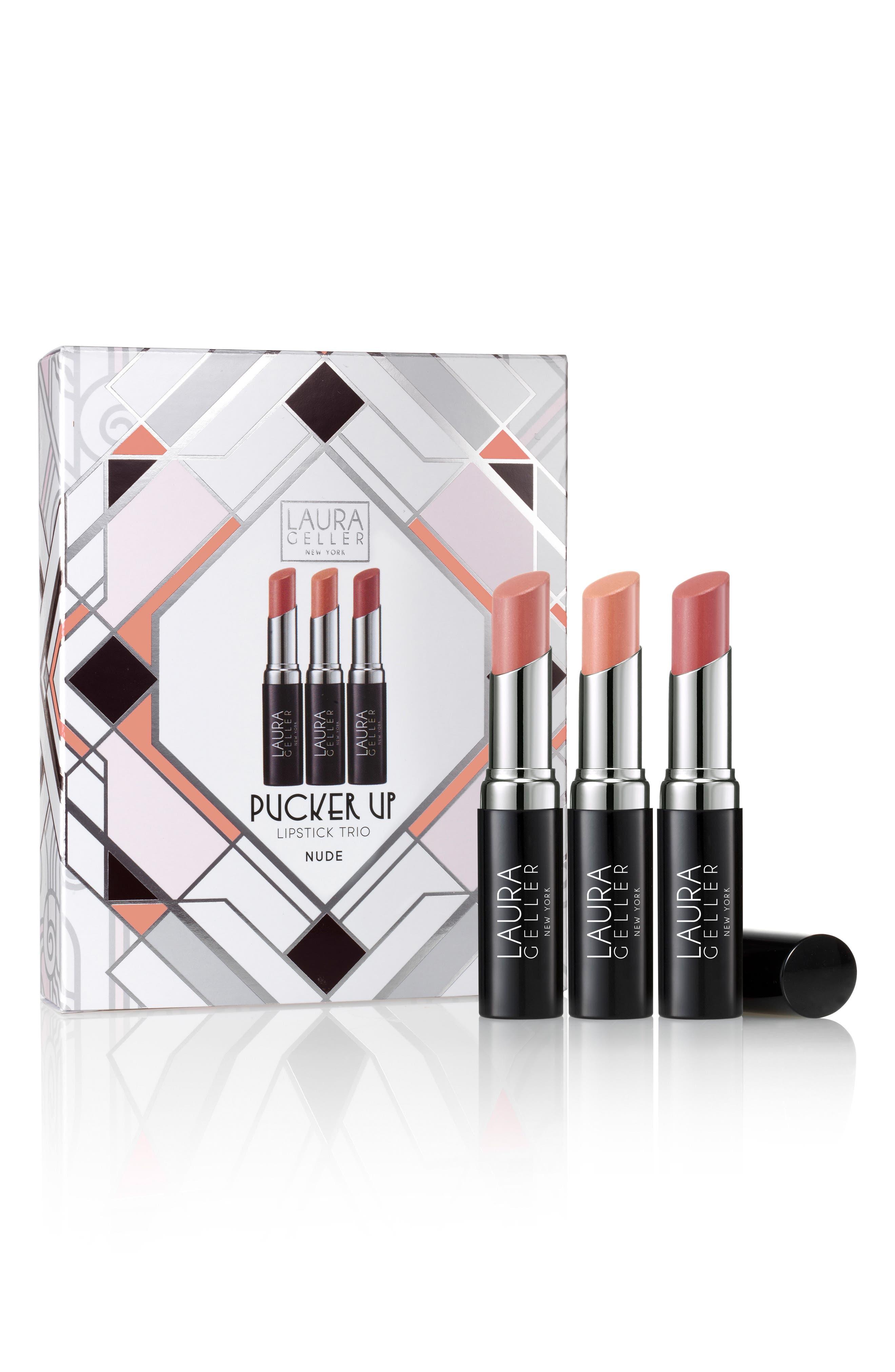 Pucker Up Nudes Lipstick Trio,                             Alternate thumbnail 3, color,