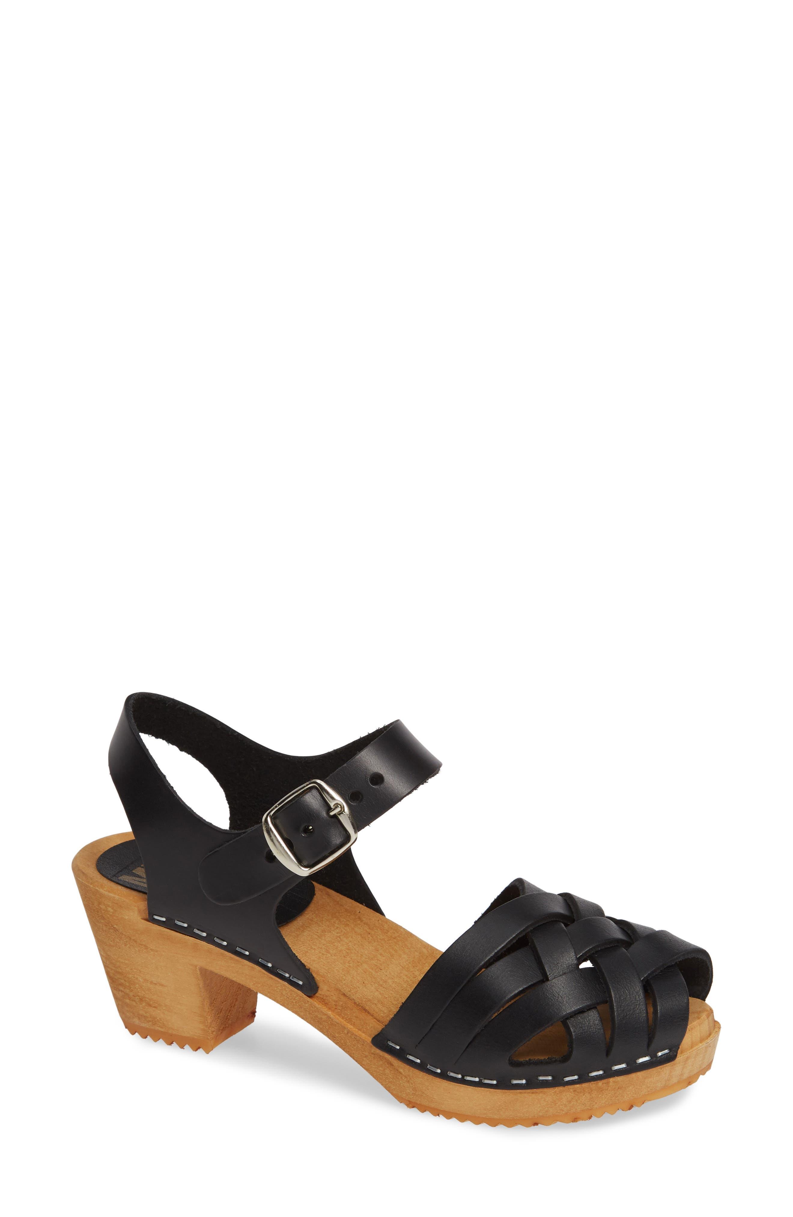 Bety Clog Sandal, Main, color, BLACK LEATHER