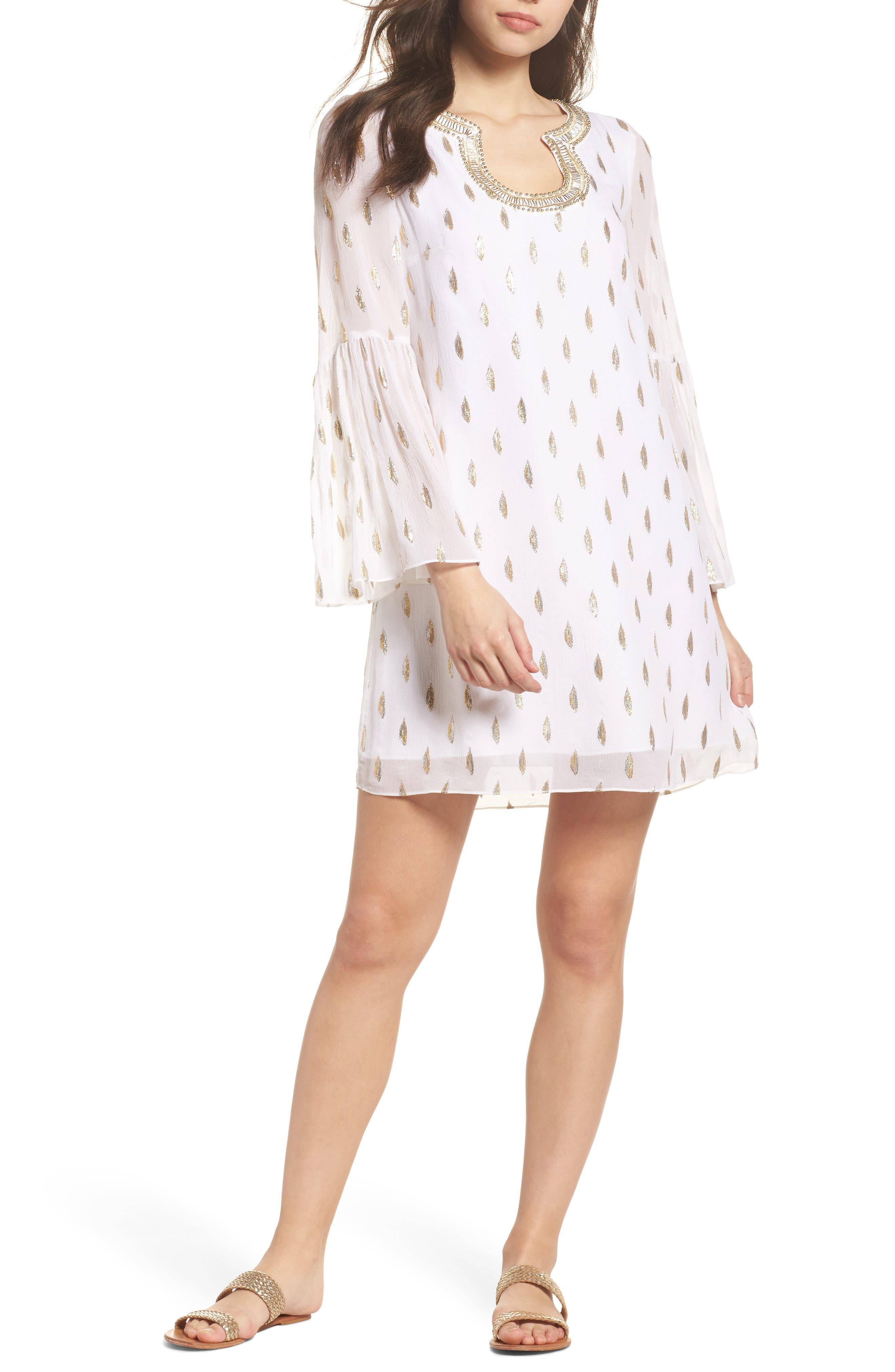 Amory Silk Tunic Dress,                             Alternate thumbnail 5, color,                             100