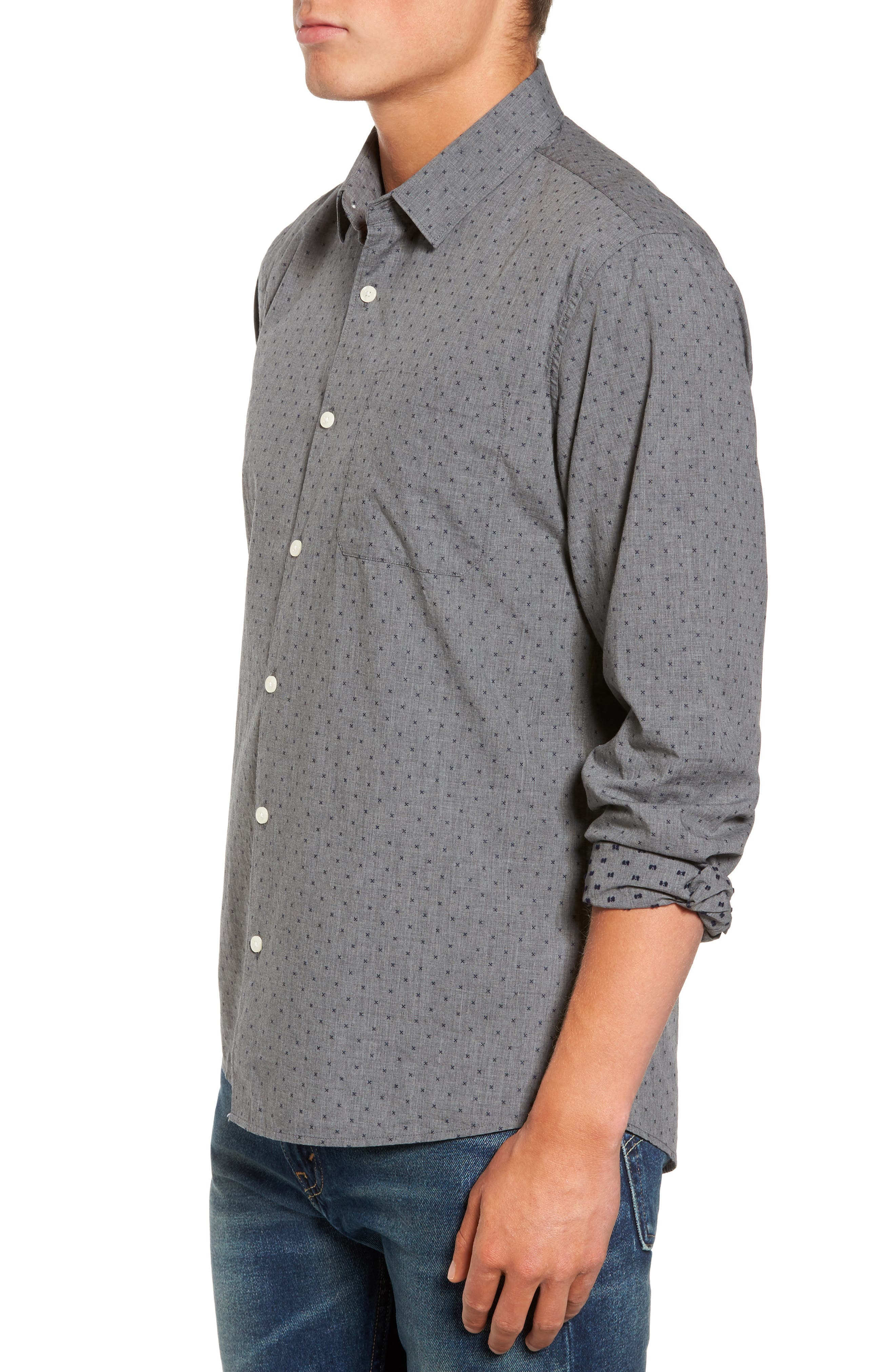 Steel Sky Woven Shirt,                             Alternate thumbnail 3, color,                             410