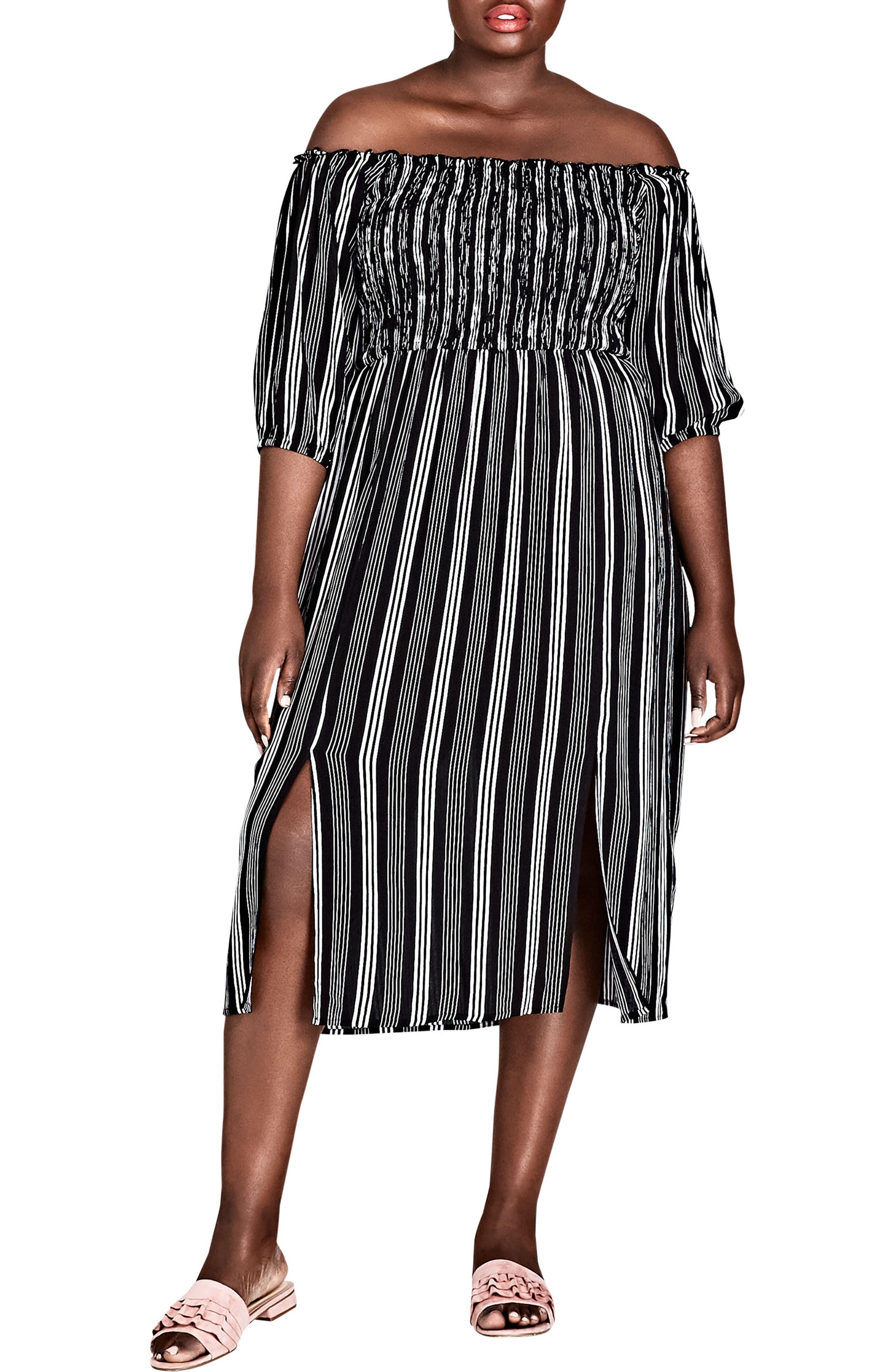 Stripe Play Off the Shoulder Midi Dress,                             Main thumbnail 1, color,                             STRIPE PLAY