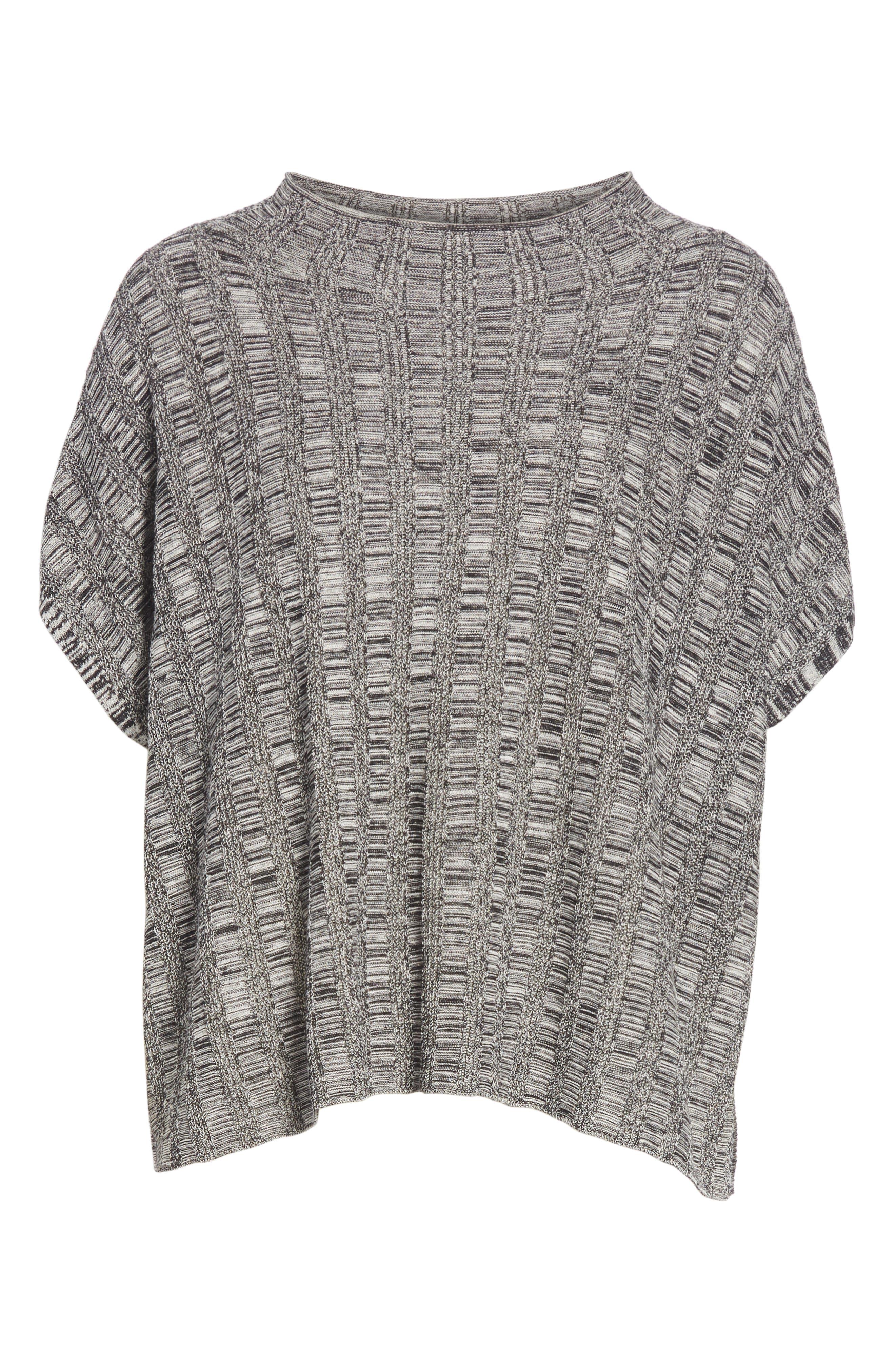 Silk & Organic Linen Sweater,                             Alternate thumbnail 6, color,                             001