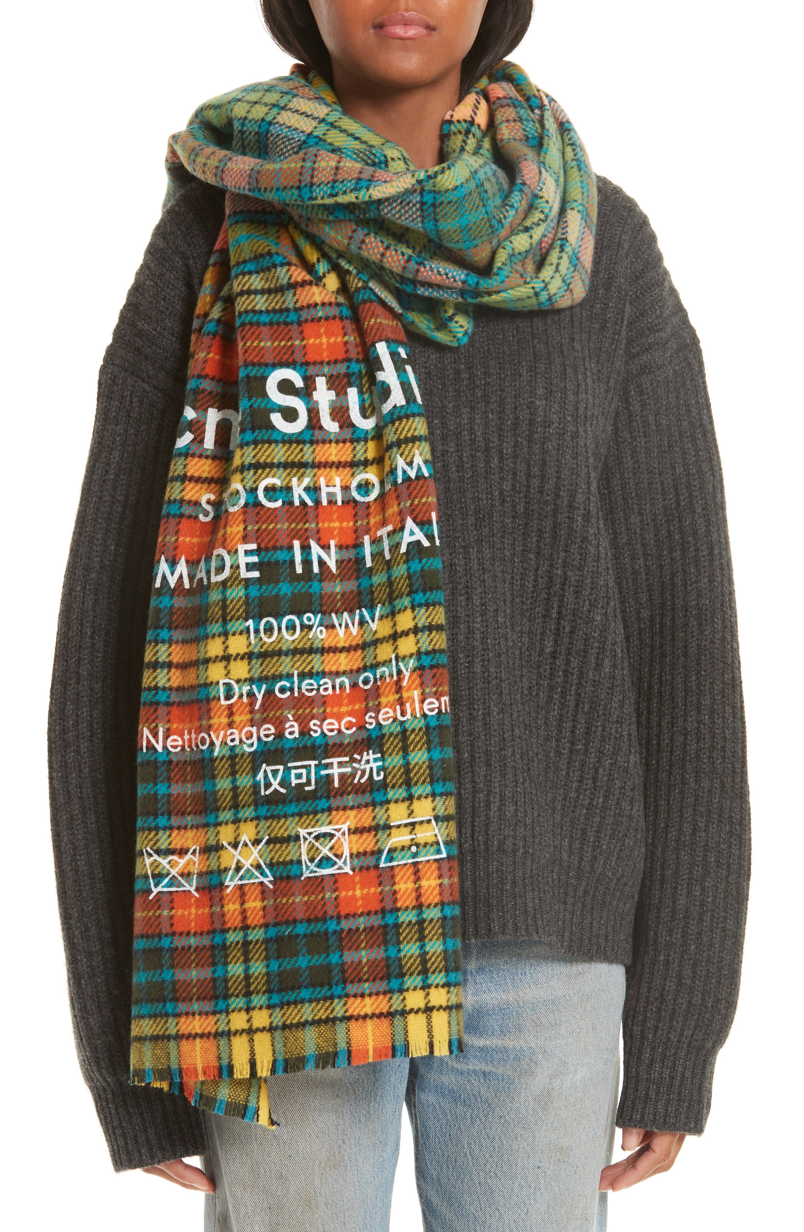 Check Wool Scarf,                         Main,                         color, MID BLUE/YELLOW CHECK