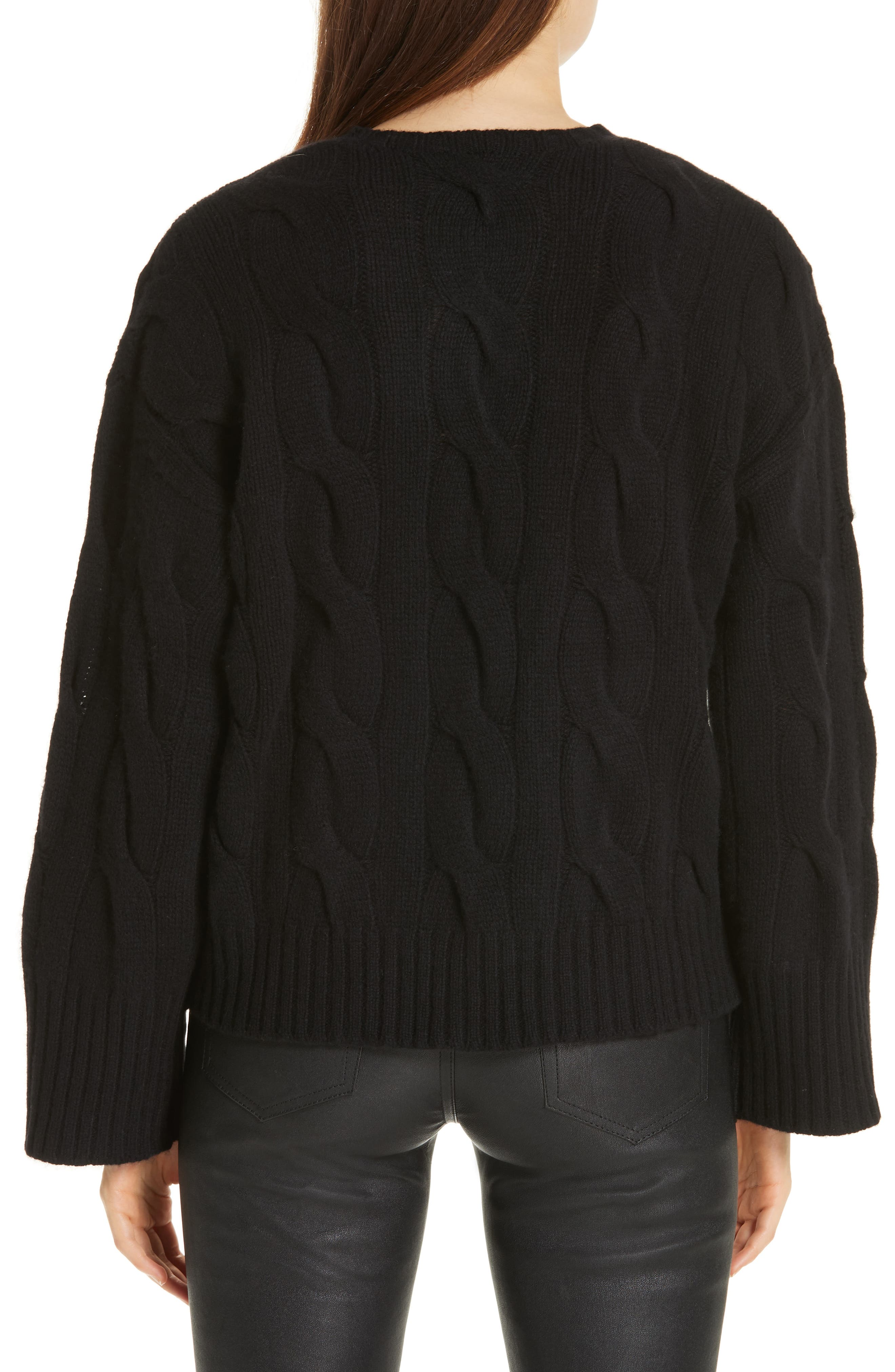 Dolman Sleeve Cable Knit Sweater,                             Alternate thumbnail 2, color,                             POLO BLACK