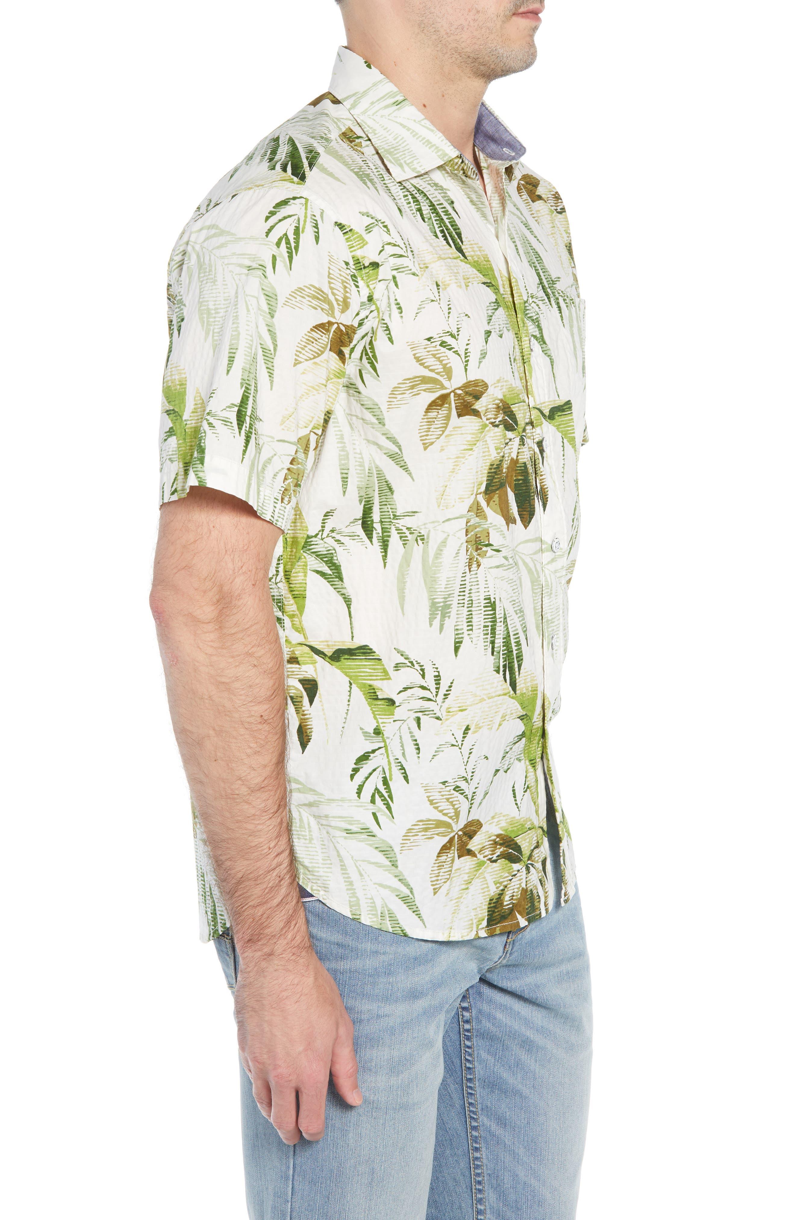 Don't Leaf Me Now Regular Fit Tropical Print Sport Shirt,                             Alternate thumbnail 4, color,                             COCONUT CREAM