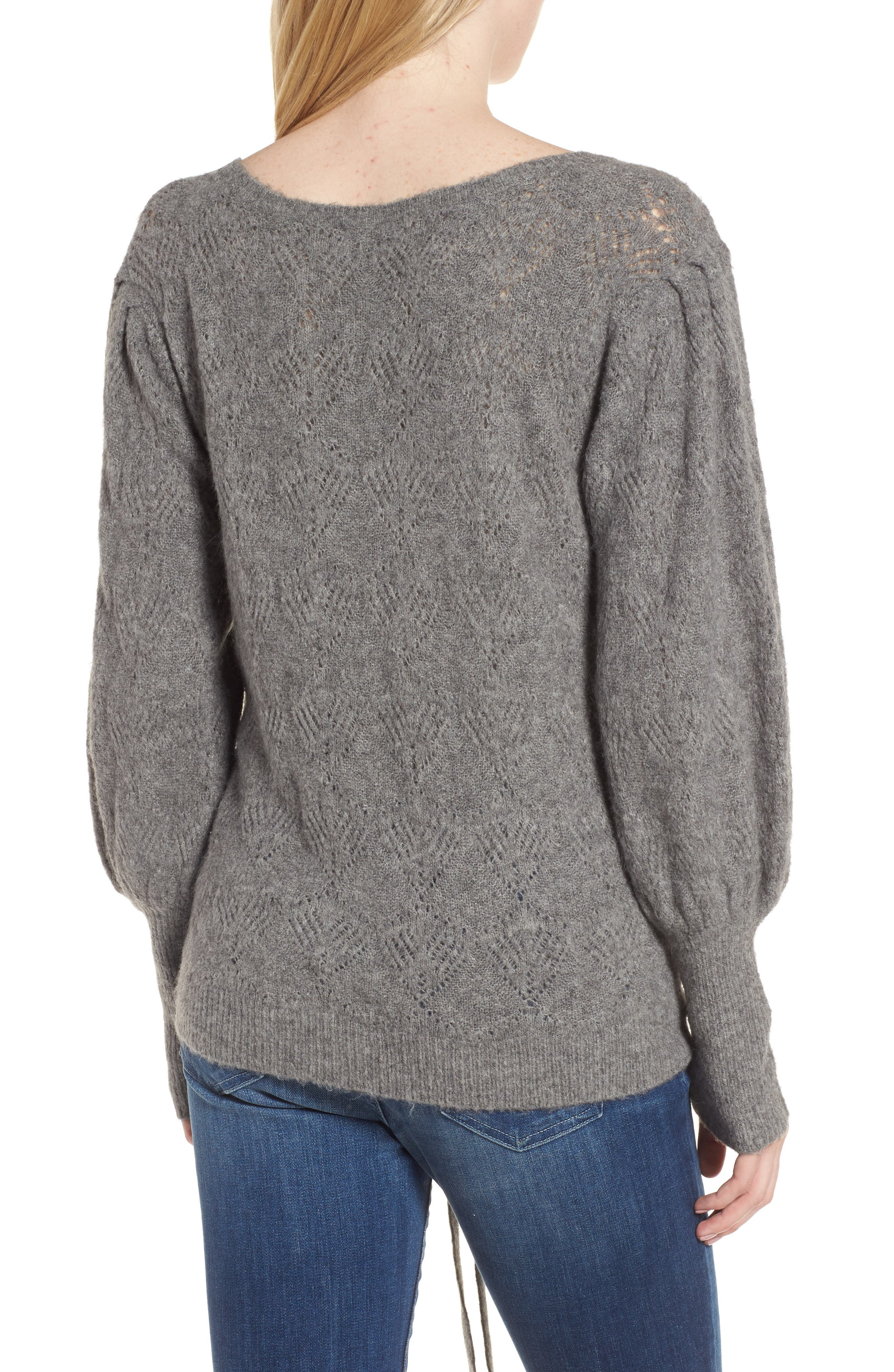 Tied Pointelle Knit Sweater,                             Alternate thumbnail 3, color,