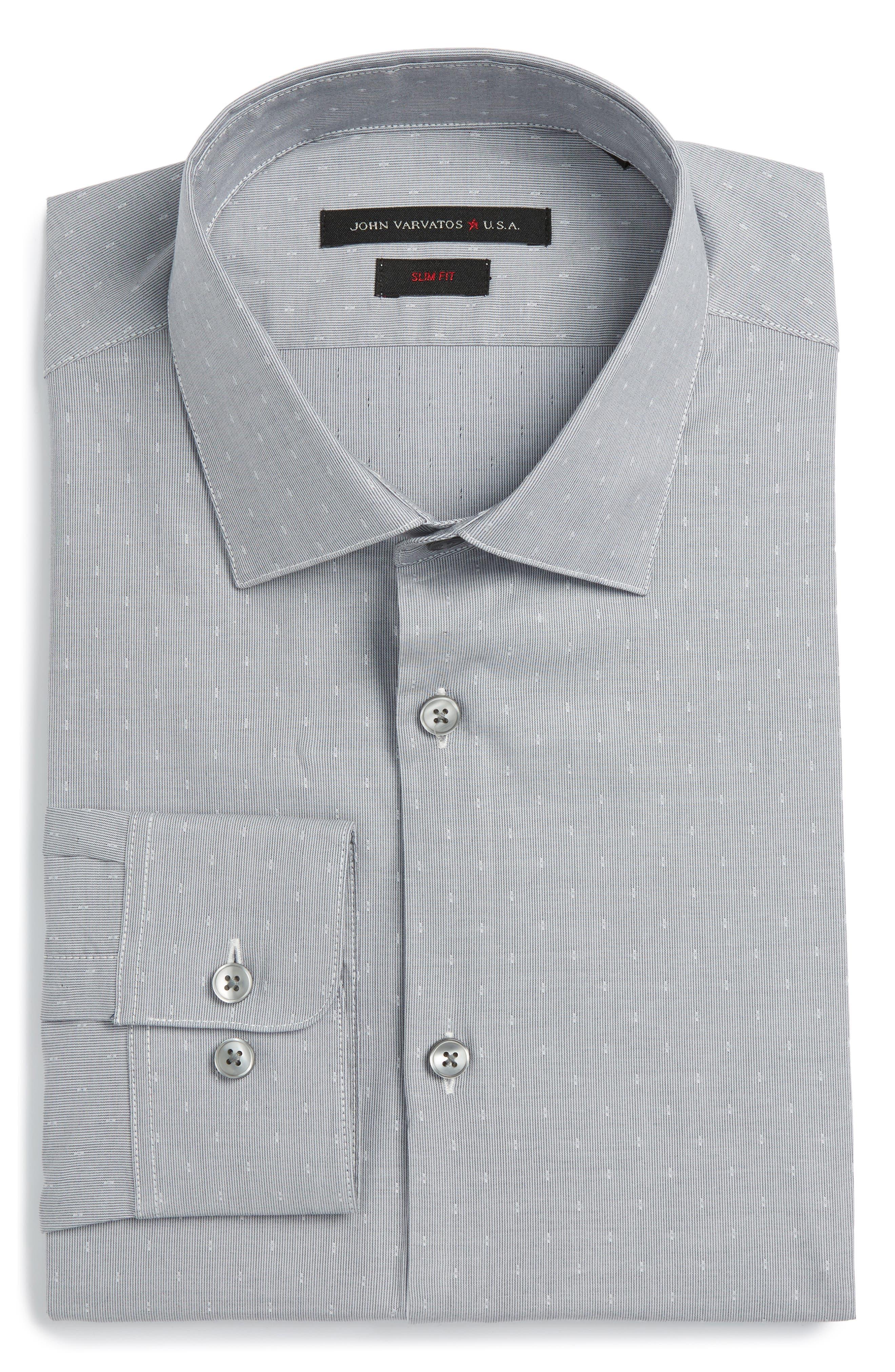 Slim Fit Stretch Stripe Dress Shirt,                         Main,                         color, 050