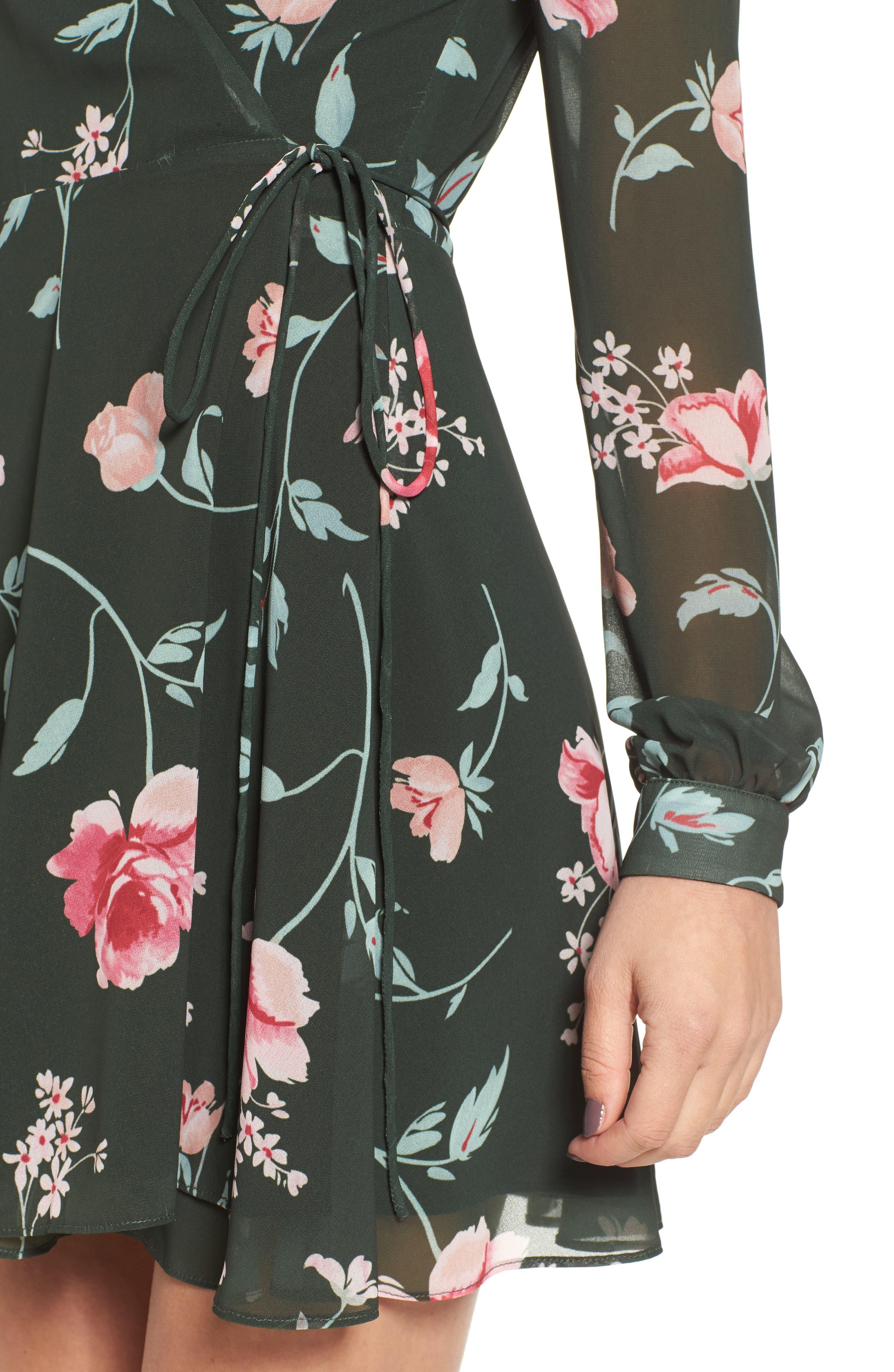 Castor Wrap Dress,                             Alternate thumbnail 4, color,                             001