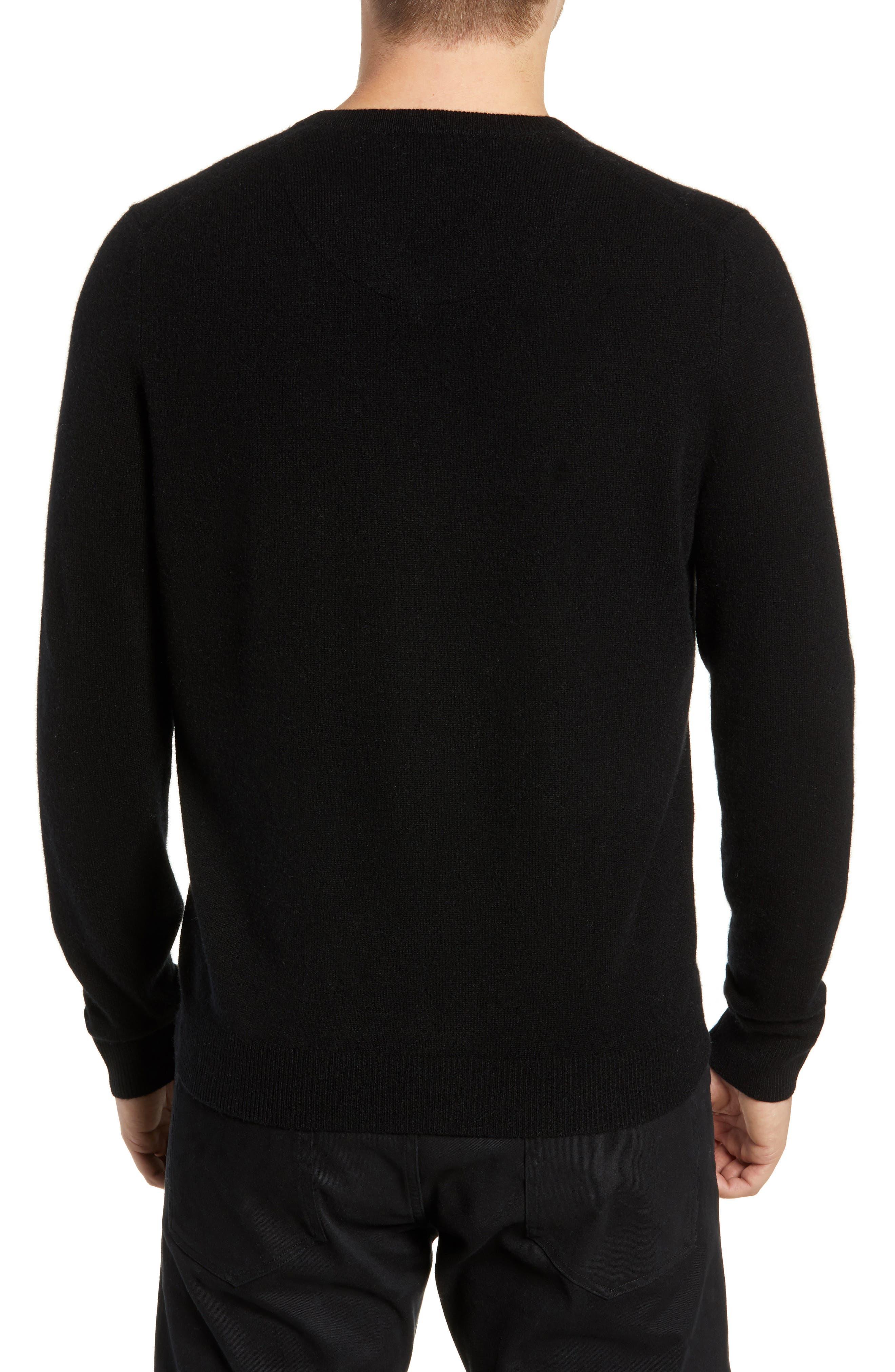 Cashmere V-Neck Sweater,                             Alternate thumbnail 2, color,                             BLACK CAVIAR