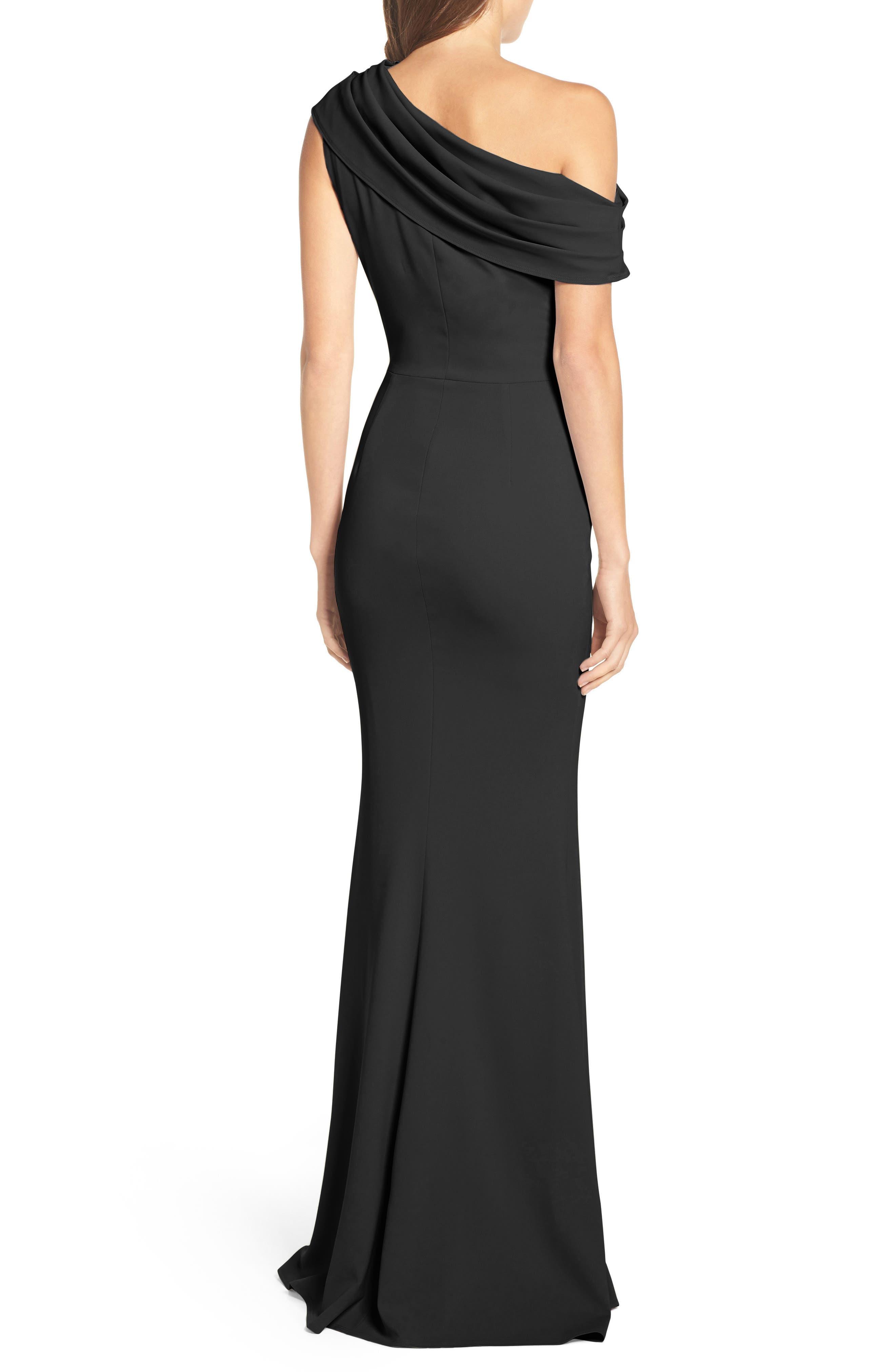 Layla Pleat One-Shoulder Crepe Gown,                             Alternate thumbnail 2, color,                             BLACK