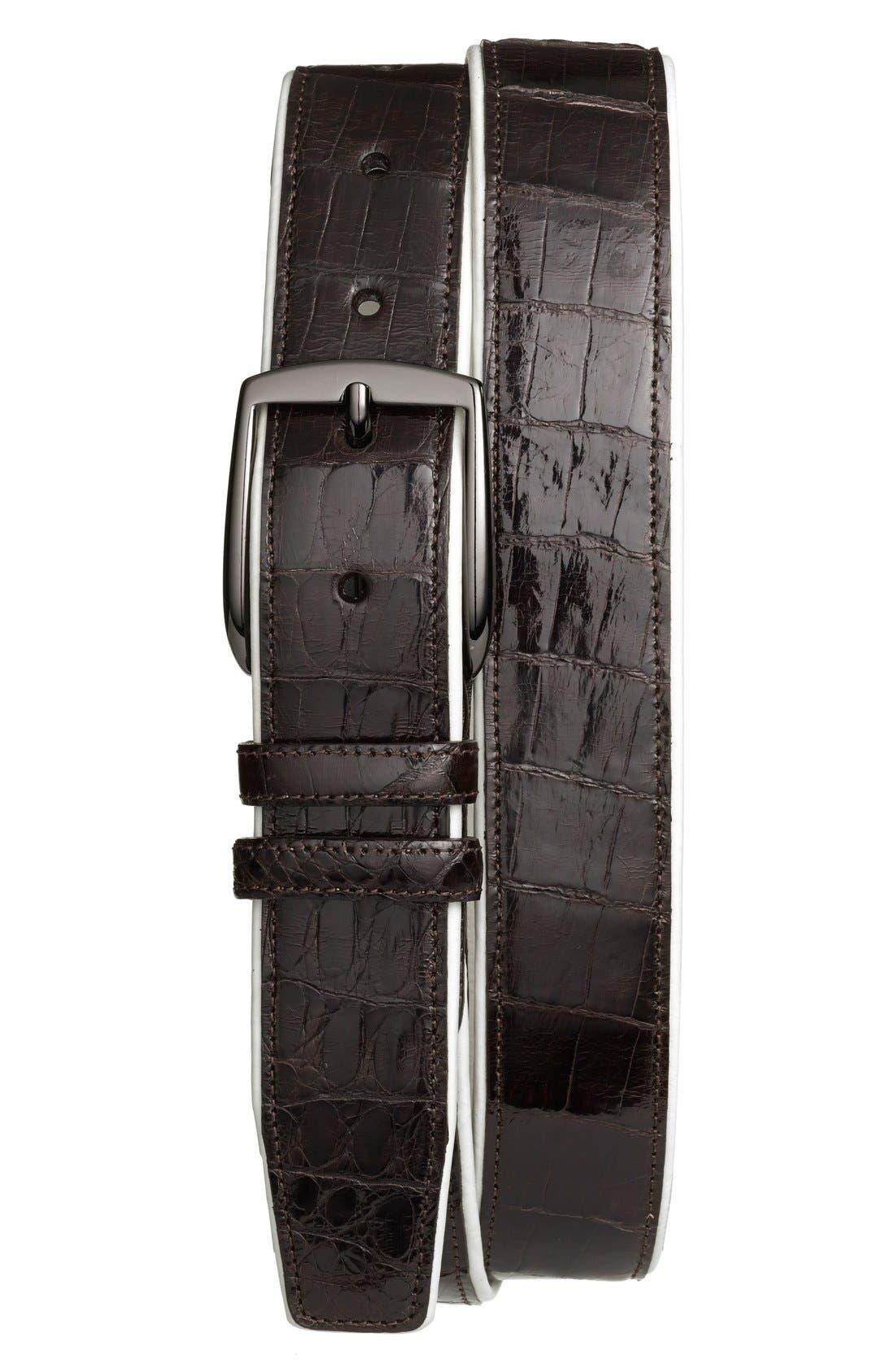 'Saratoga' Genuine Crocodile Leather Belt,                             Main thumbnail 1, color,                             BROWN