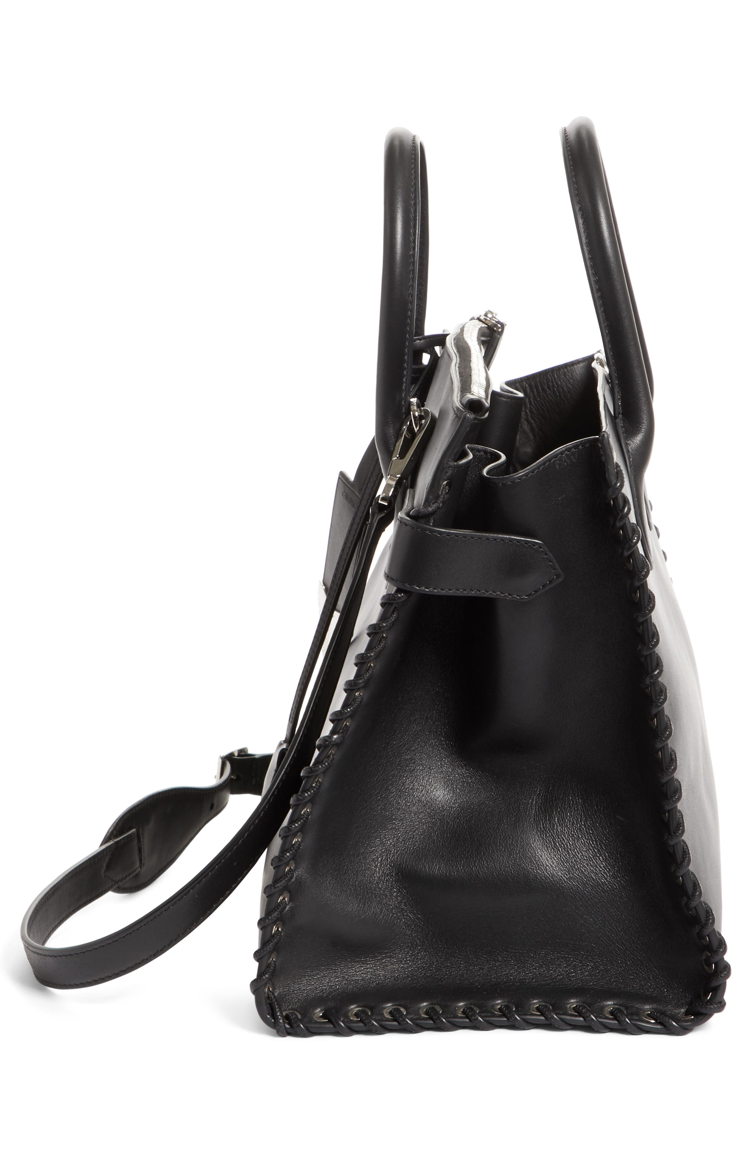 Large Whipstitch Calfskin Tote,                             Alternate thumbnail 5, color,                             001
