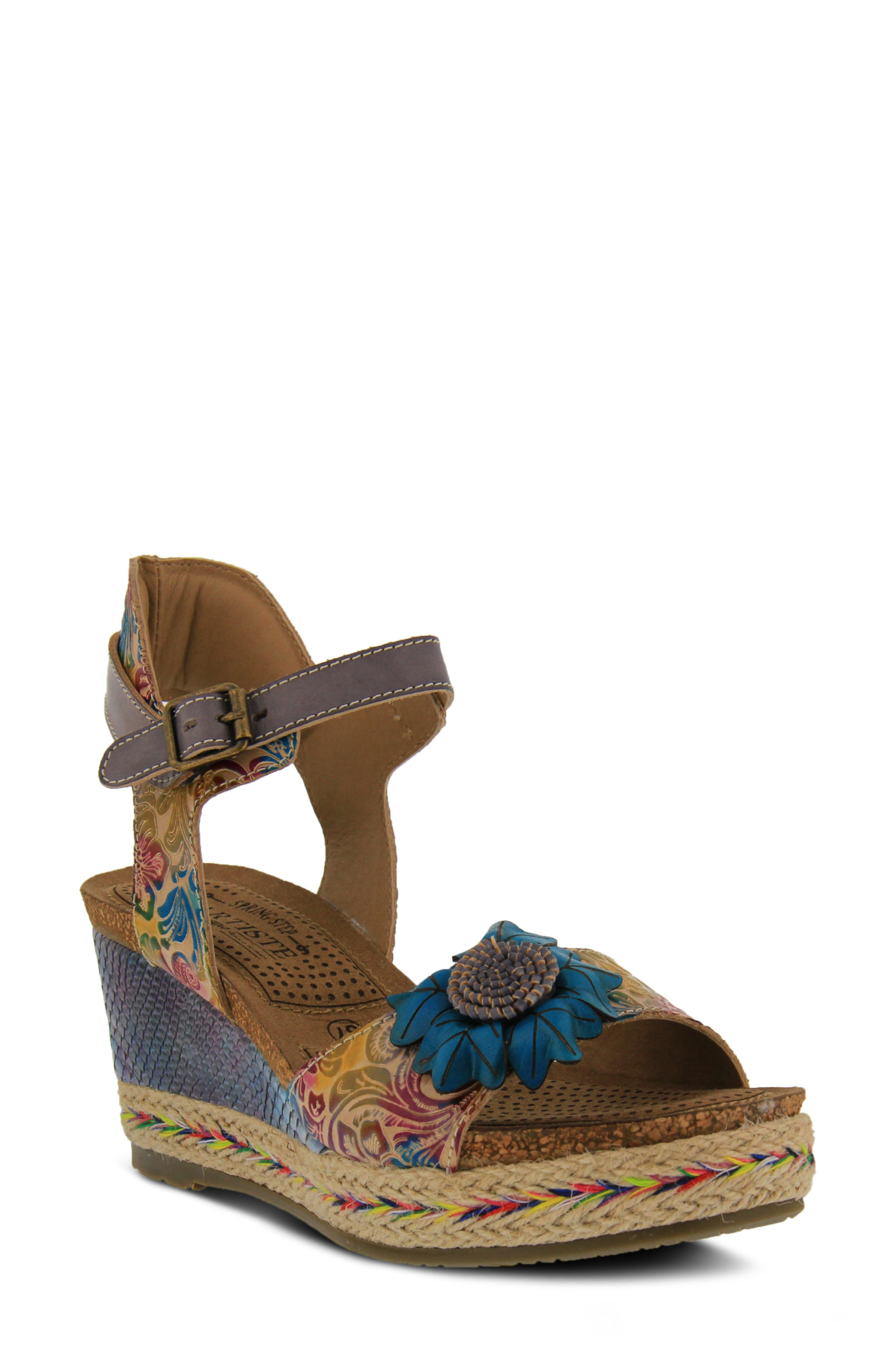 L'ARTISTE,                             Annmarie Wedge Sandal,                             Main thumbnail 1, color,                             GREY MULTI LEATHER
